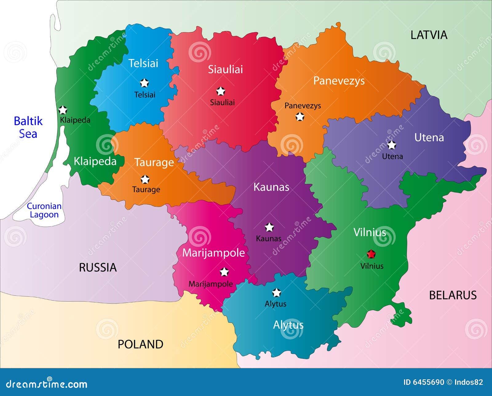 De kaart van Litouwen