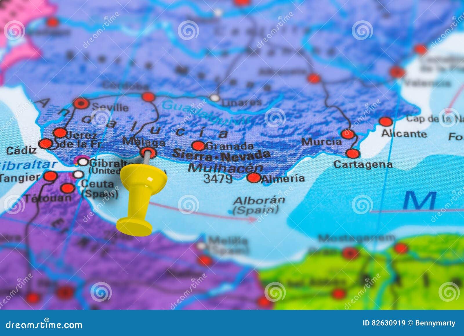 De Kaart Van Malaga Spanje Stock Afbeelding Afbeelding Bestaande