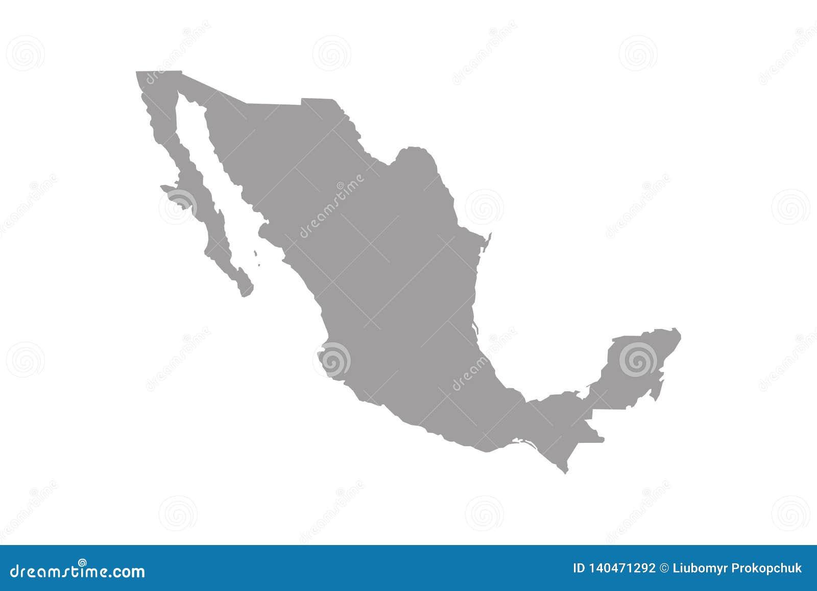 De kaart van Mexico Hoog gedetailleerde kaart van Mexico op witte achtergrond