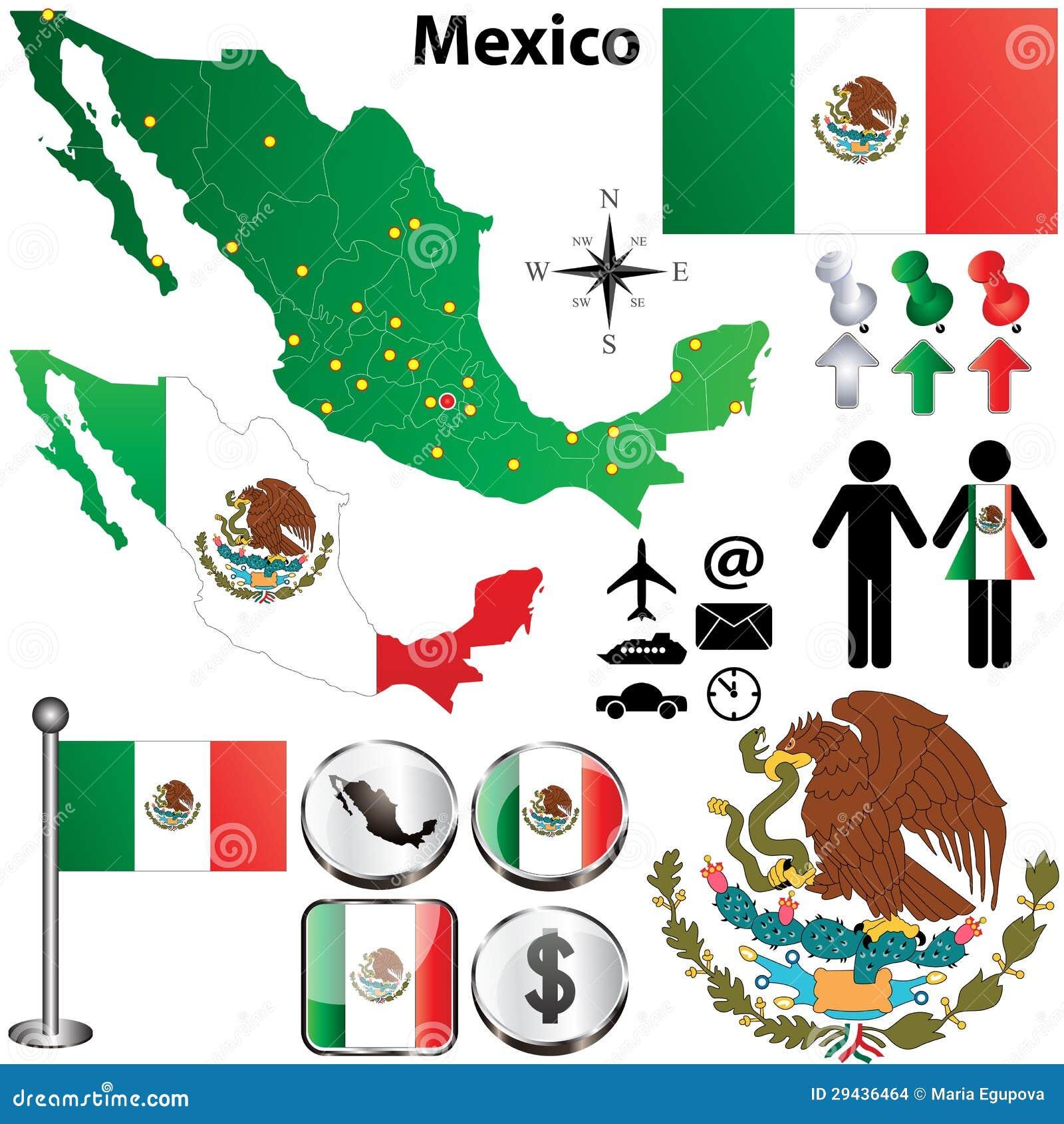 De kaart van Mexico met gebieden
