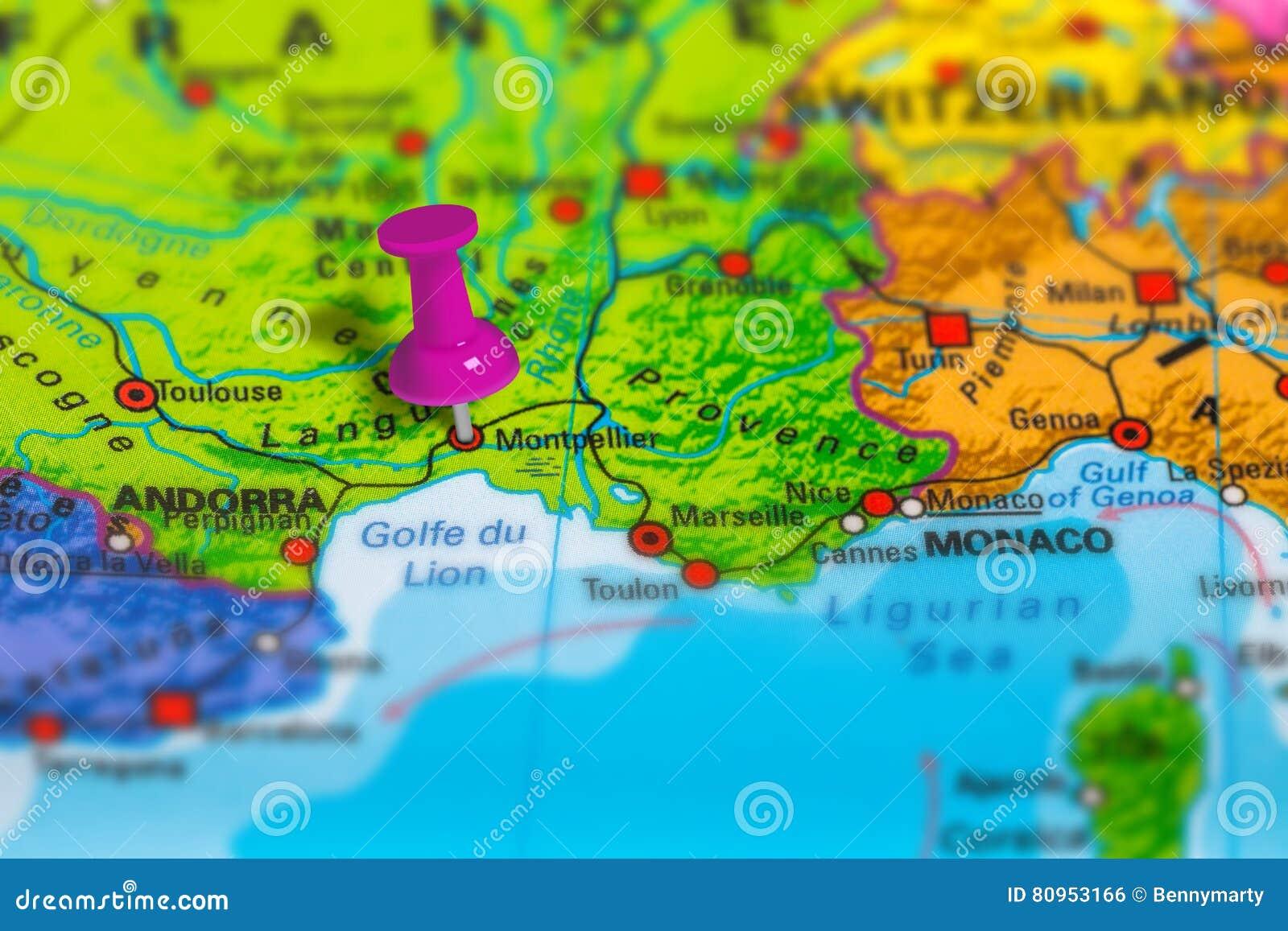 De Kaart Van Montpellier Frankrijk Stock Foto Afbeelding