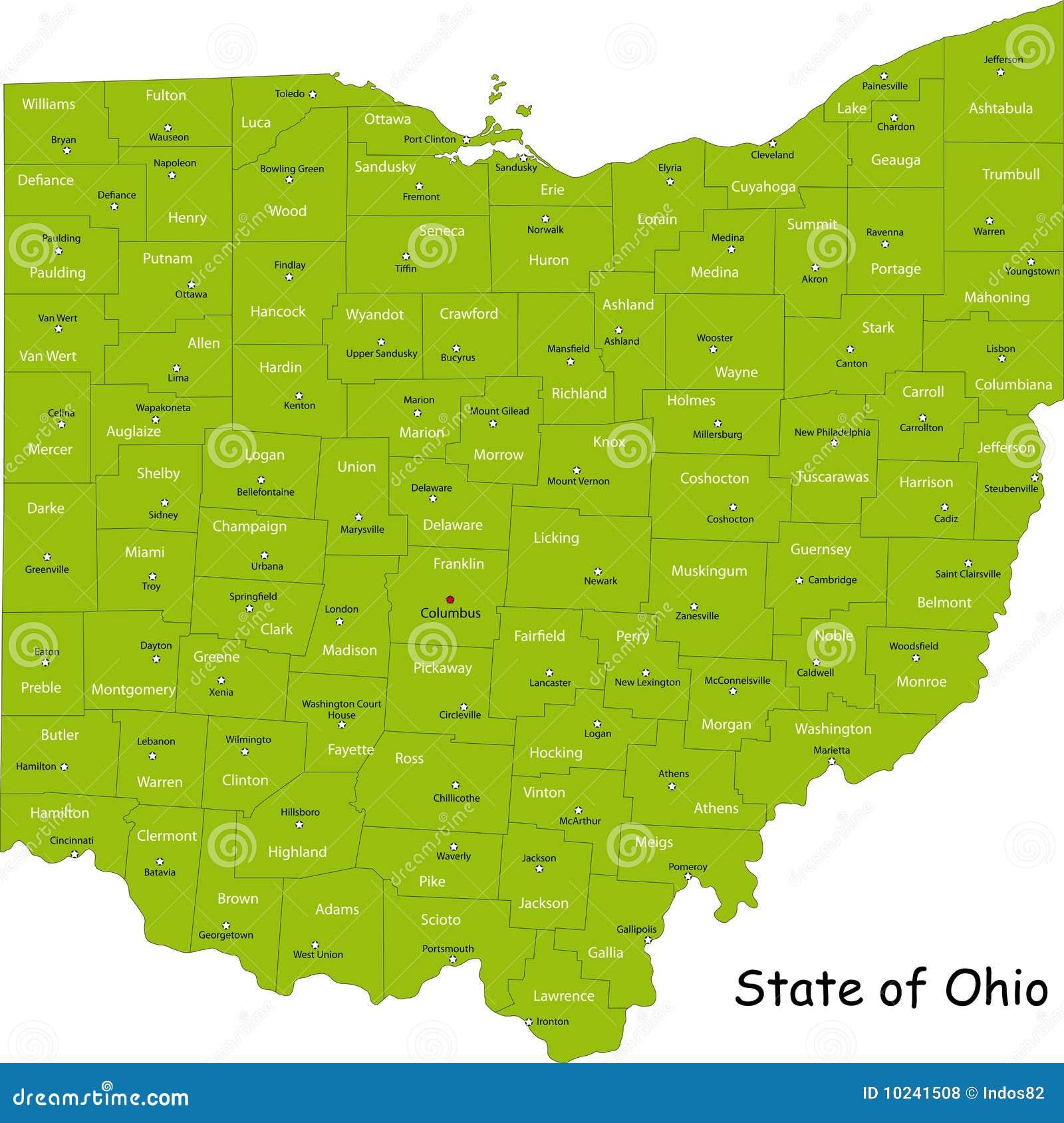 De kaart van Ohio