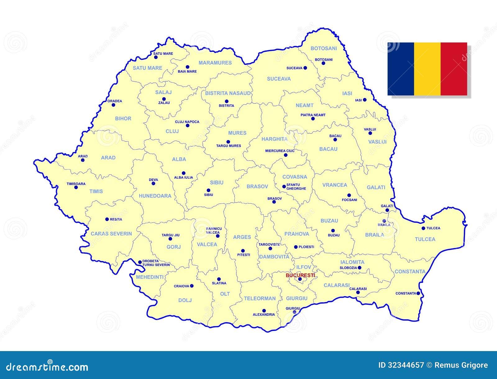 De kaart van Roemenië