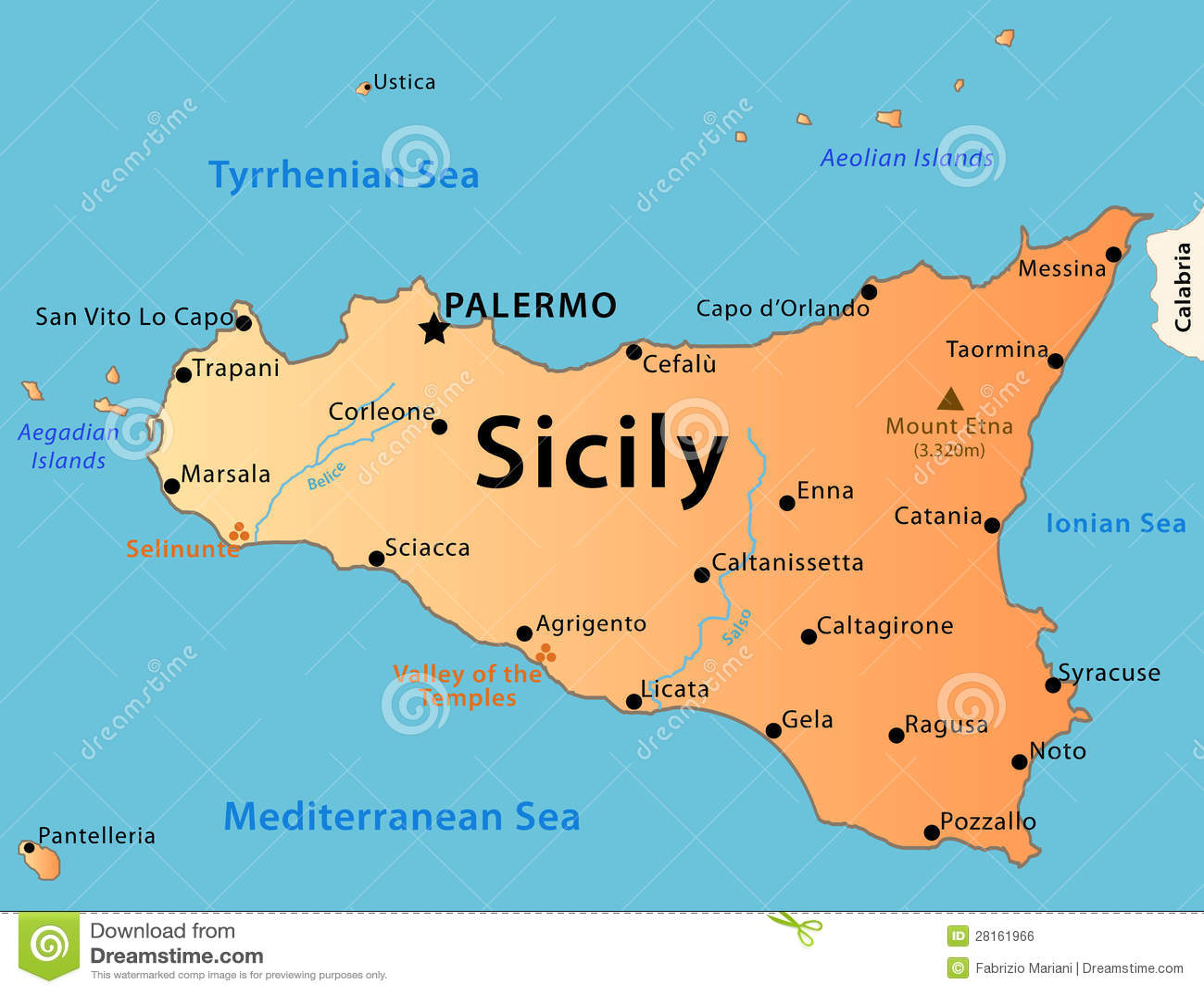 De kaart van Sicilië