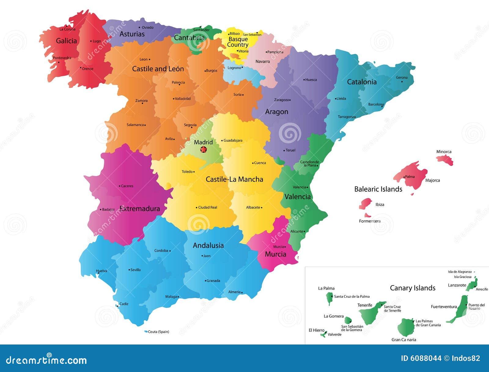 De kaart van Spanje