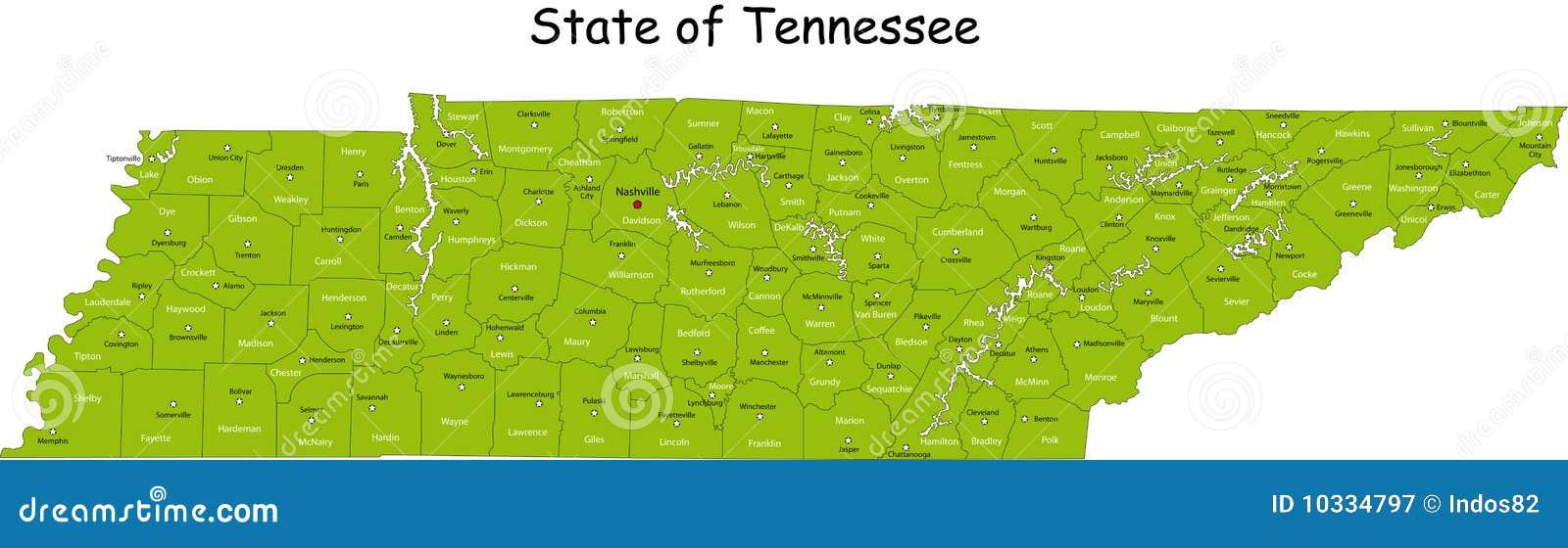 De kaart van Tennessee