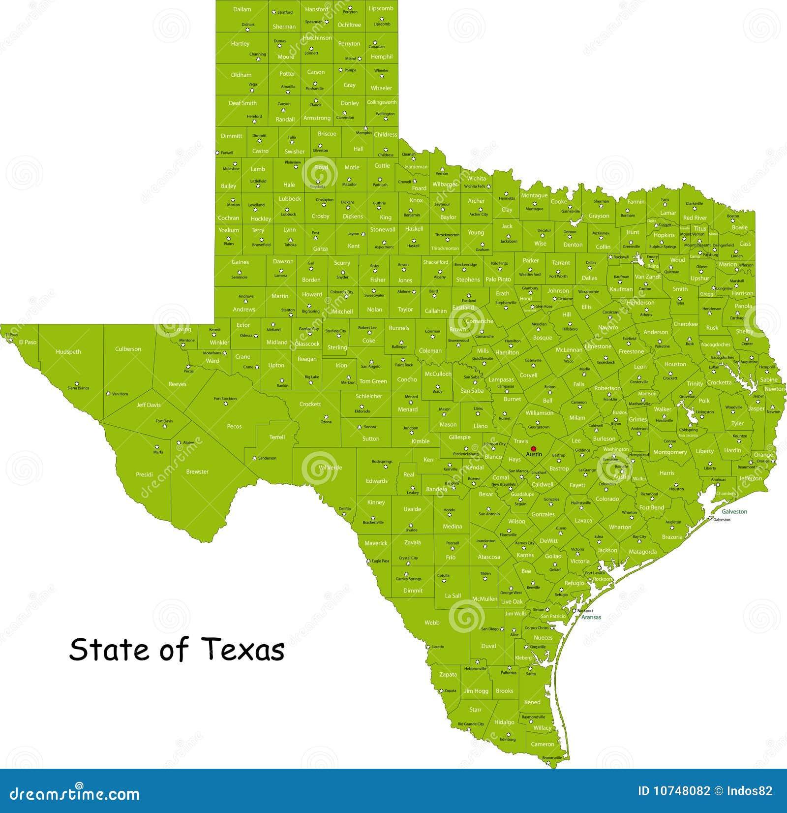 De kaart van Texas