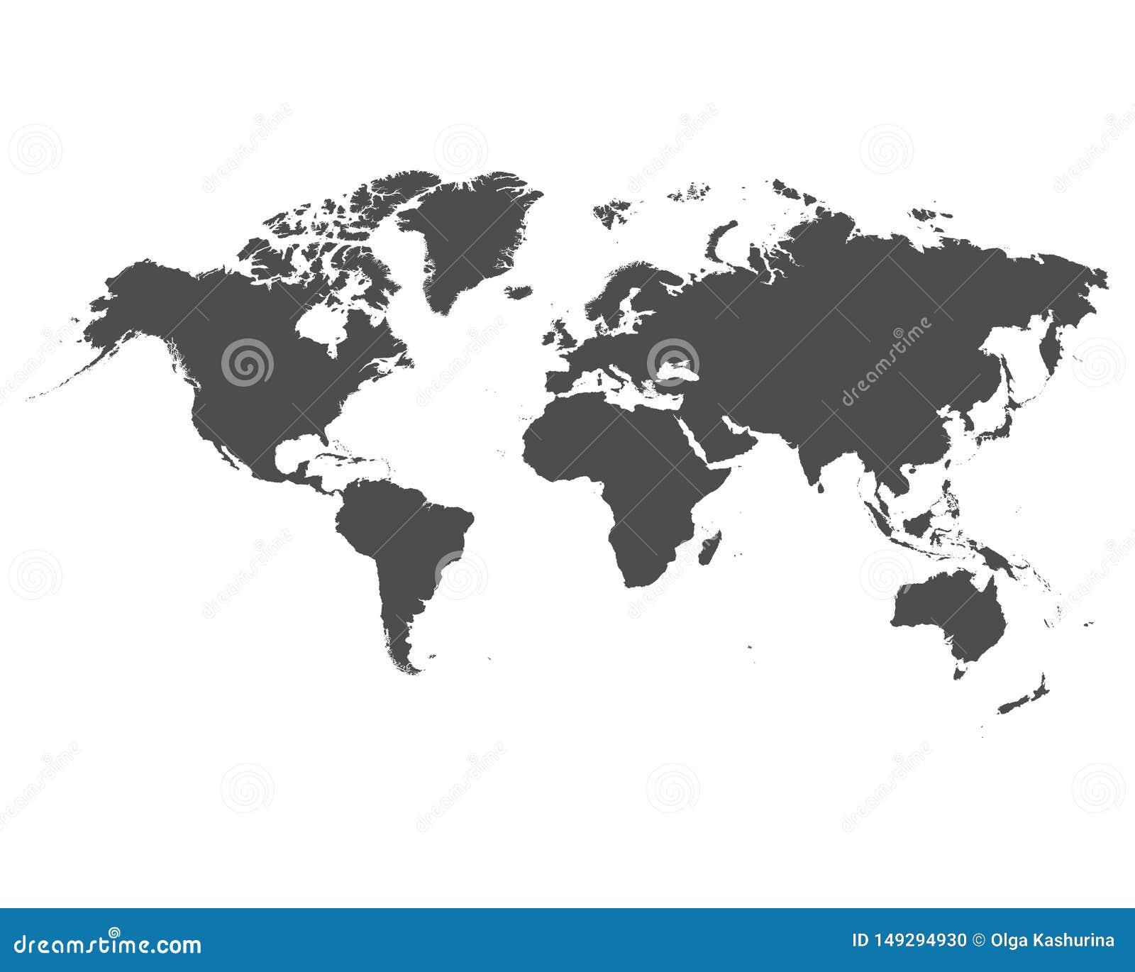 De kaart van de wereld op witte achtergrond vectorillustratie - Vector