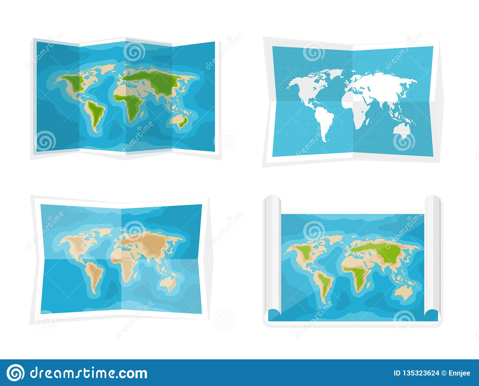 De kaart van de wereld Vector illustratie nearsighted Afrika Antarctica Australië Eurasia Noord-Amerika
