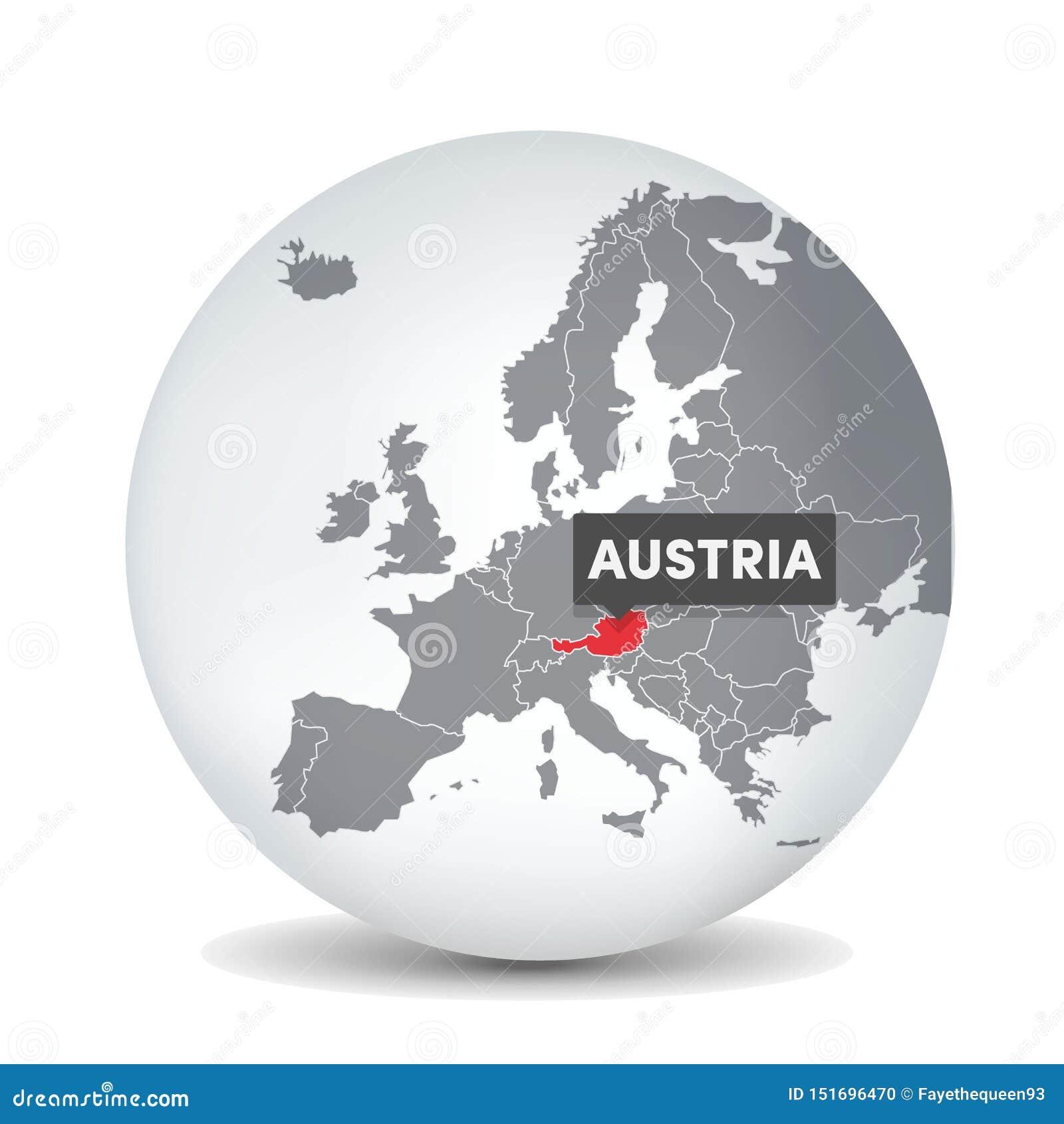 De kaart van de wereldbol met identication van Oostenrijk Kaart van Oostenrijk