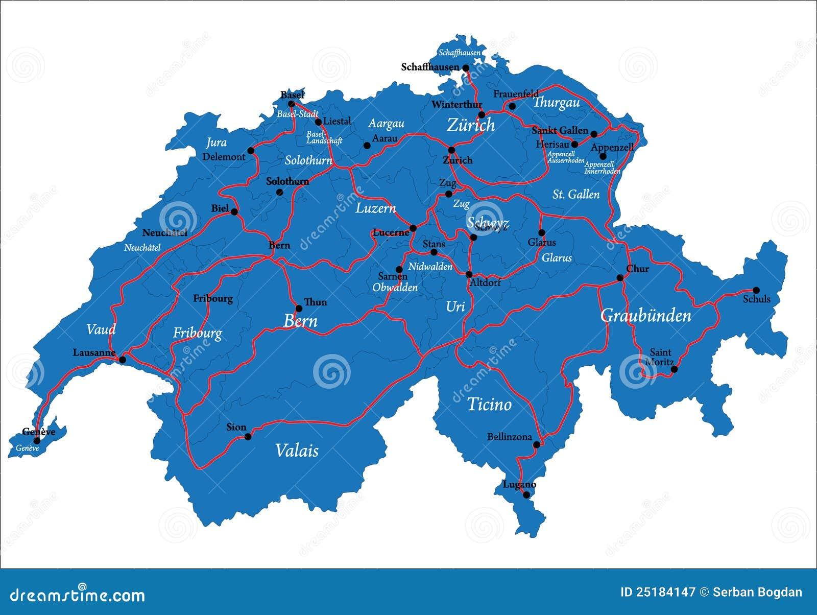 De Kaart Van Zwitserland Vector Illustratie Illustratie Bestaande
