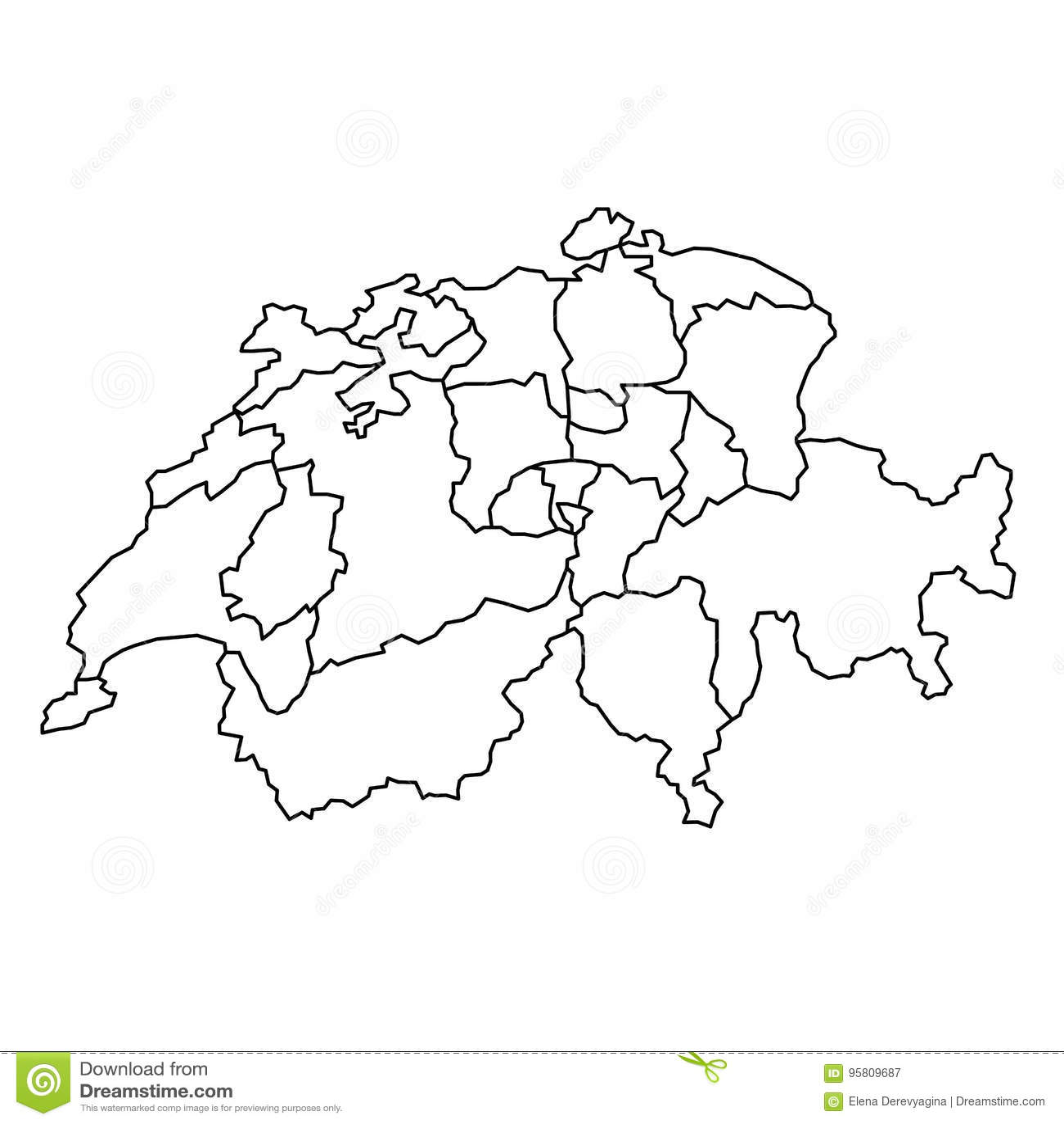 De Kaart Van Zwitserland Met Krommen Van De Kanton De Zwarte
