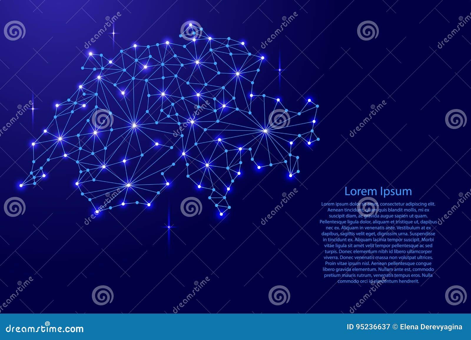 De kaart van Zwitserland van het veelhoekige netwerk van mozaïeklijnen, stralen, ruimtesterren van illustratie