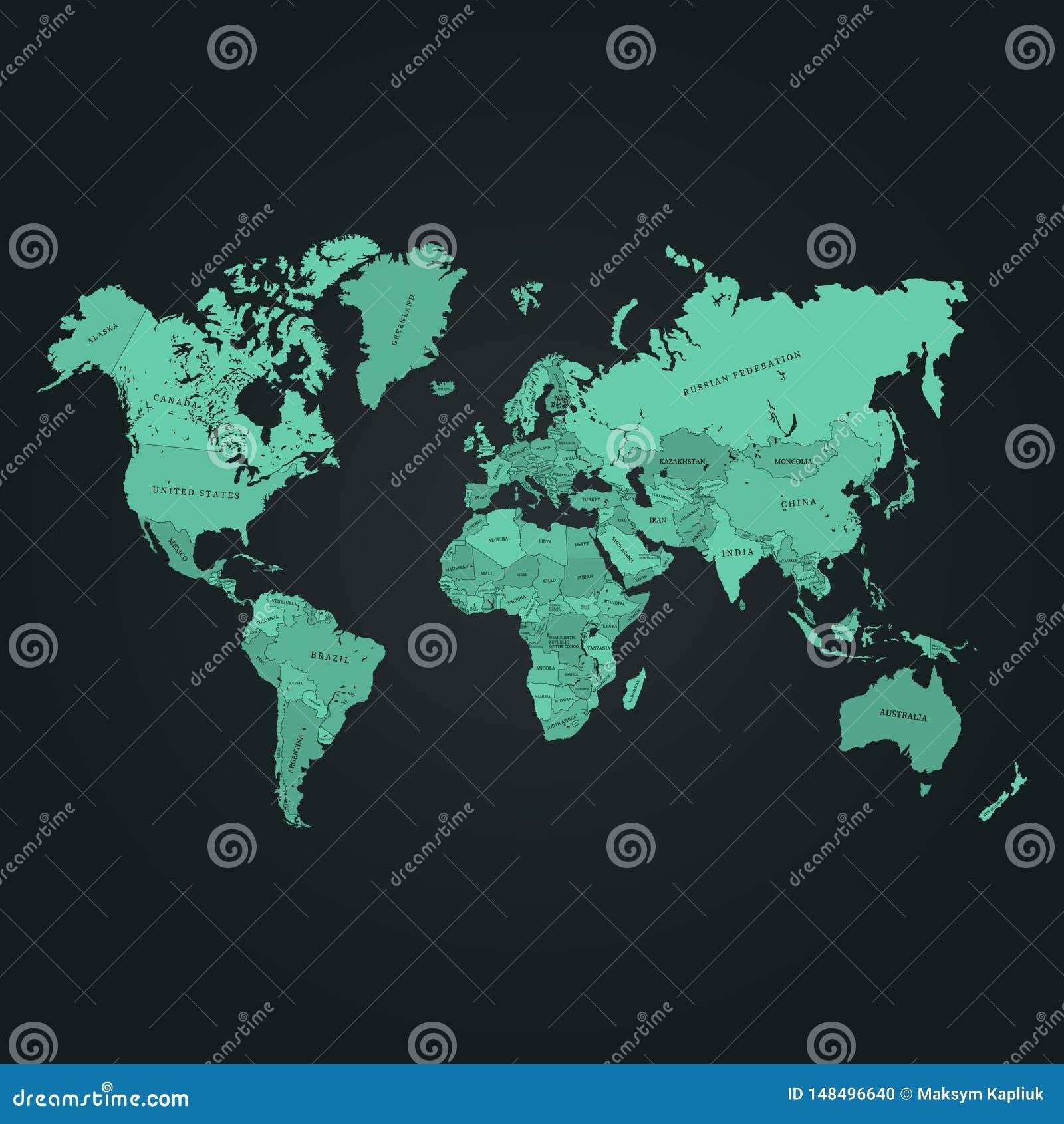 De kaart vectorillustratie van de wereld E