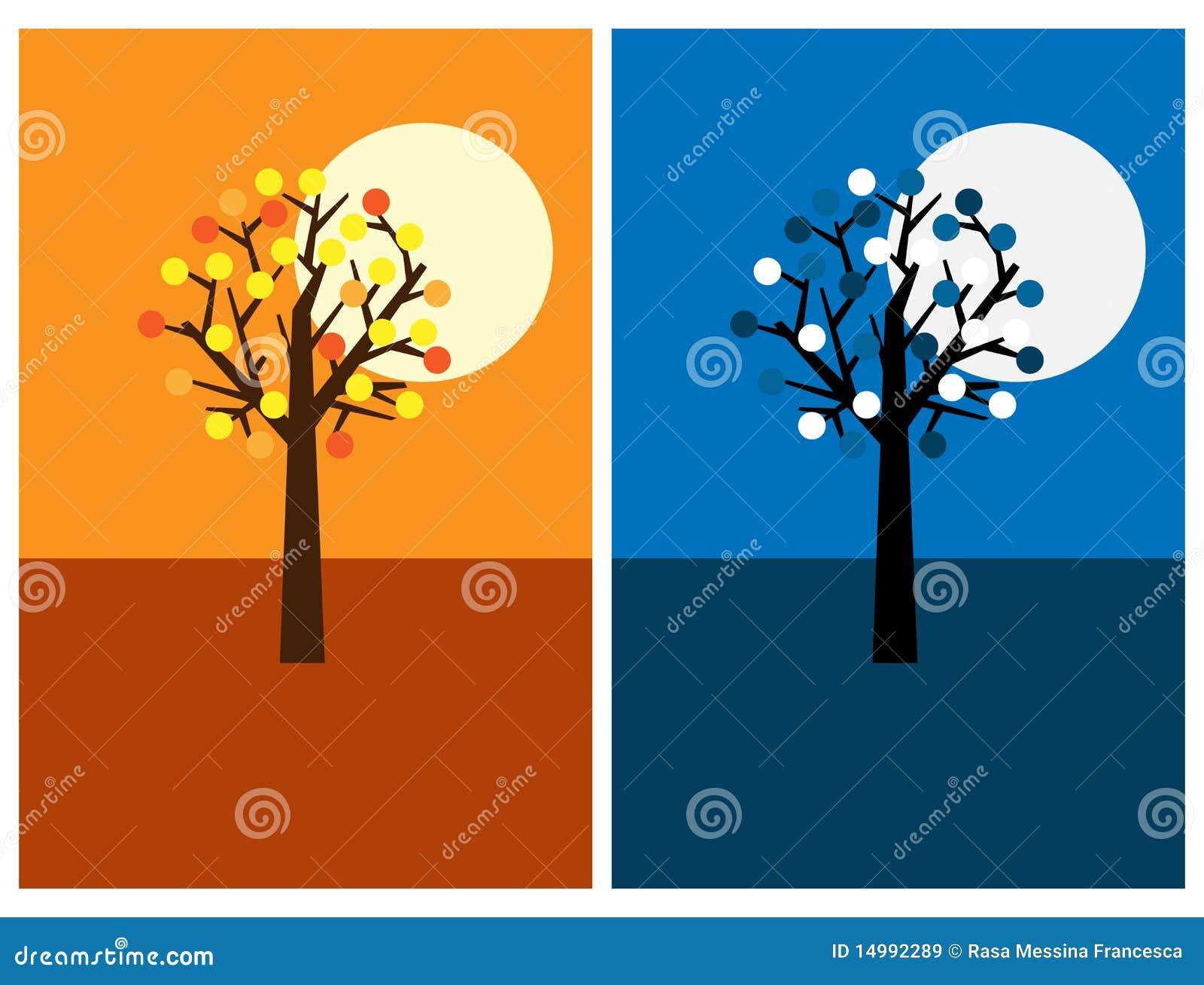 Stock afbeeldingen: de kaarten van de groet met boom, nacht en dag