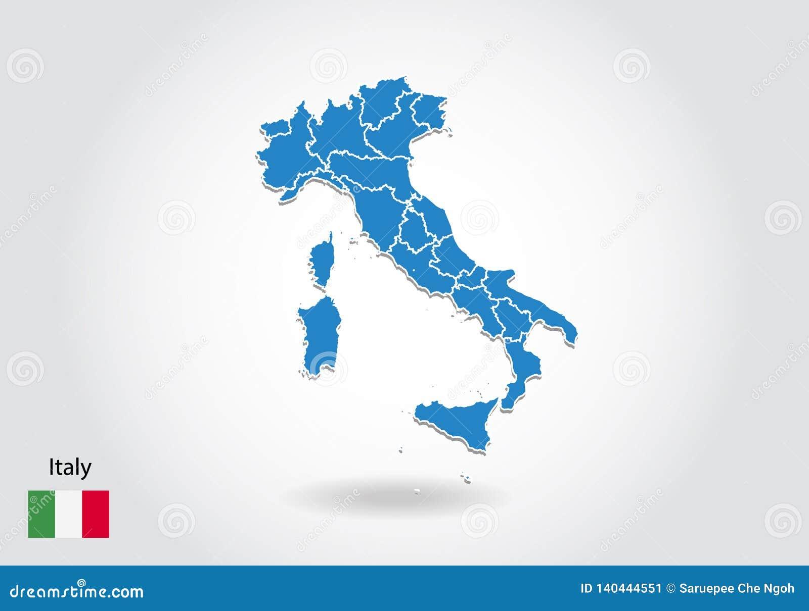 De kaartontwerp van Italië met 3D stijl De blauwe kaart van Italië en Nationale vlag Eenvoudige vectorkaart met contour, vorm, ov