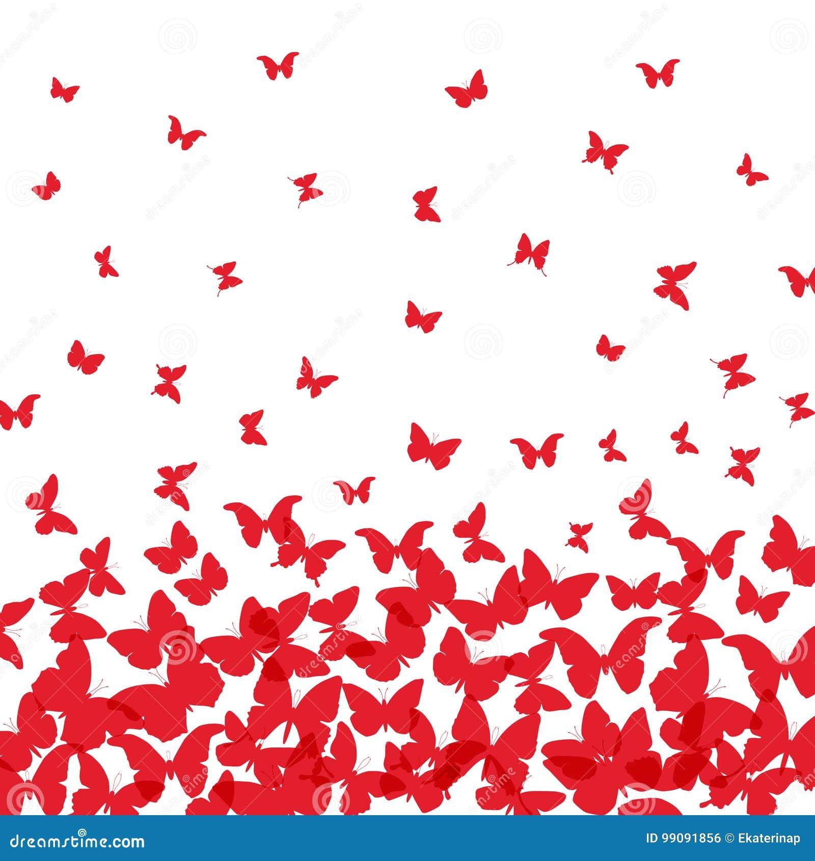 De kaartontwerp van de de lentezomer banner, rode vlinder op witte achtergrond Vector