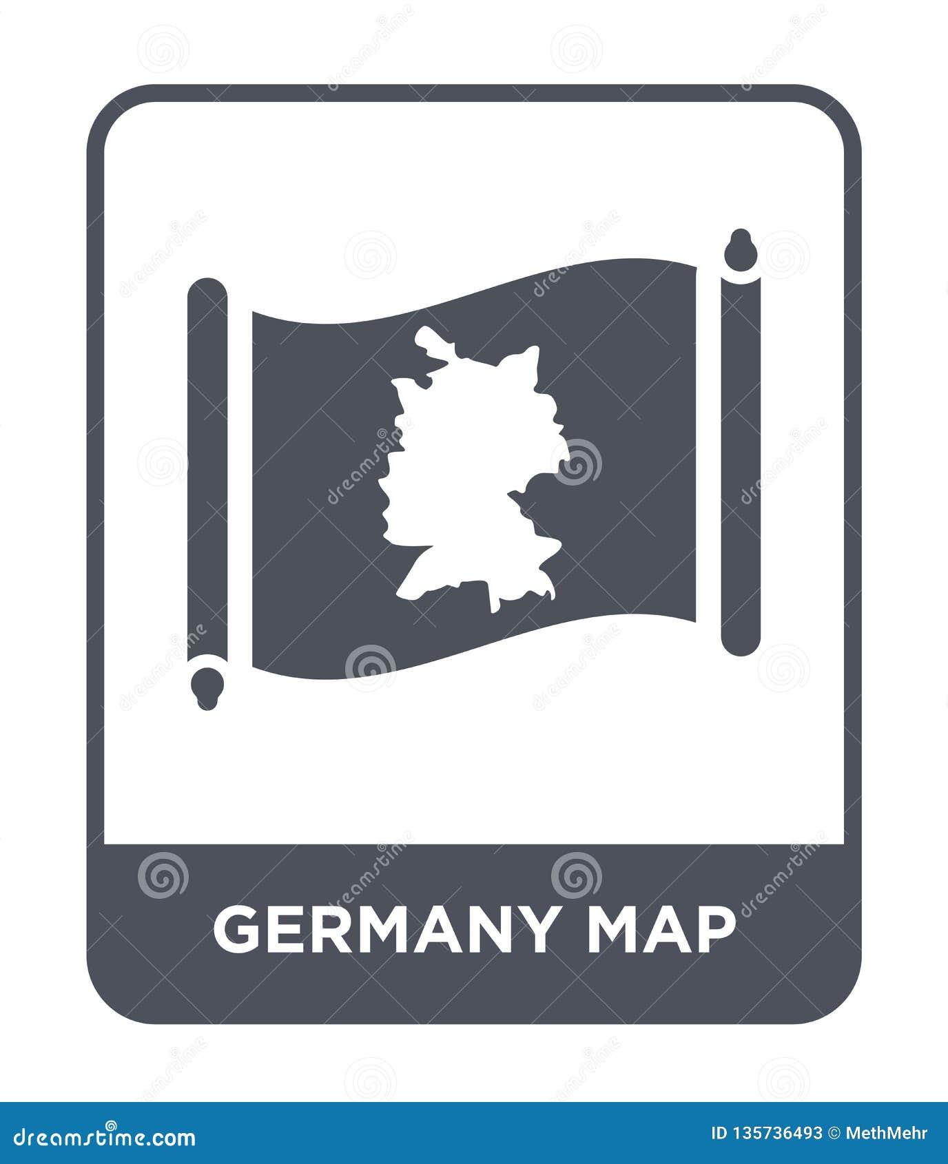 De kaartpictogram van Duitsland in in ontwerpstijl de kaartpictogram van Duitsland op witte achtergrond wordt geïsoleerd die eenv
