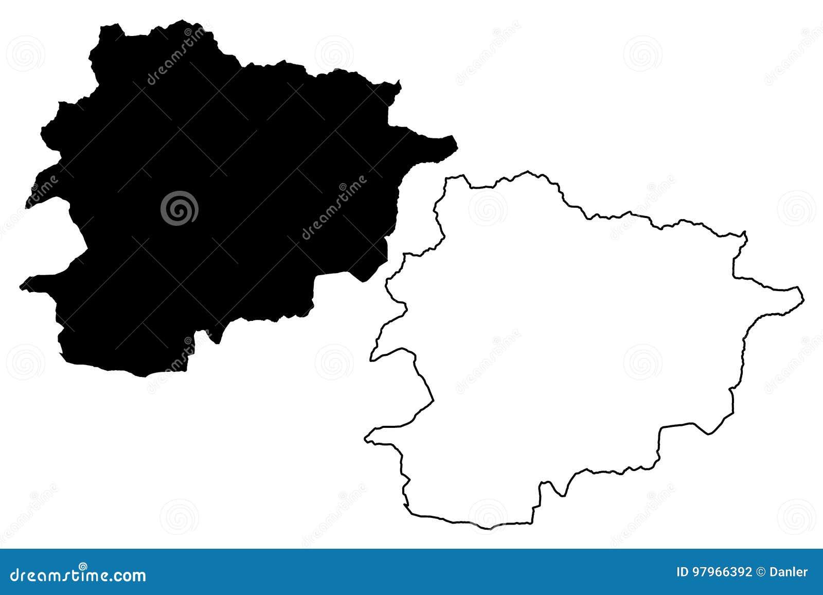 De kaartvector van Andorra