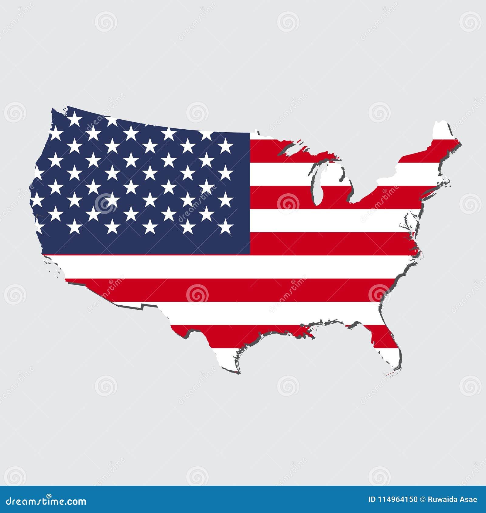De Kaartvlag van Verenigde Staten, de Kaart van Verenigde Staten met Vlagvector