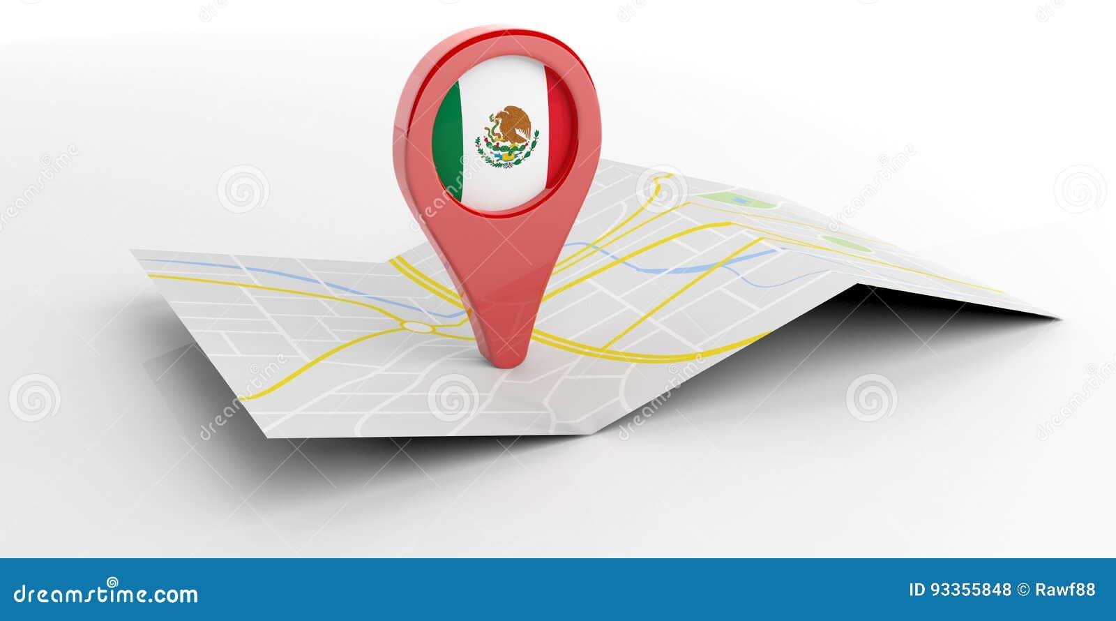 De kaartwijzer van Mexico op witte achtergrond 3D Illustratie