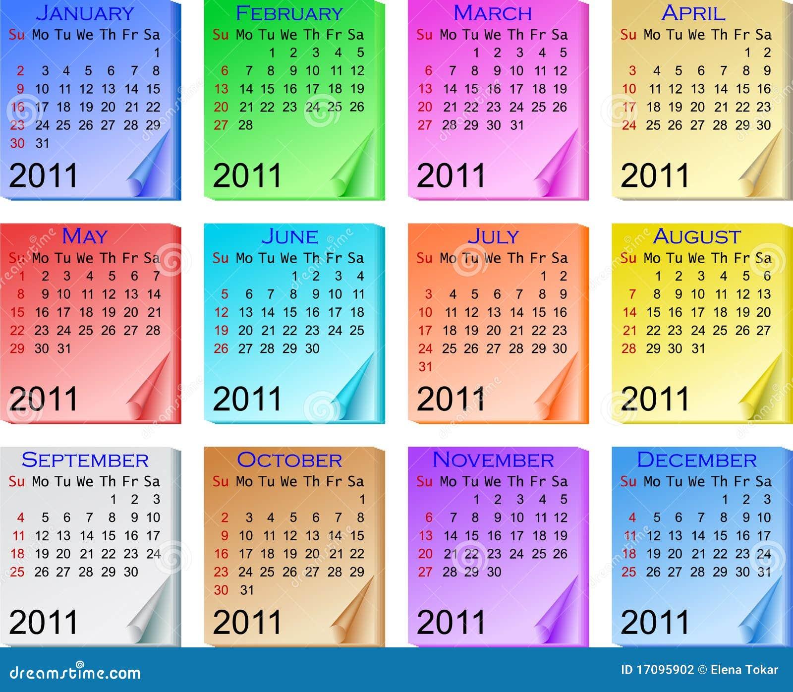 De kalender 2011 van de kleur