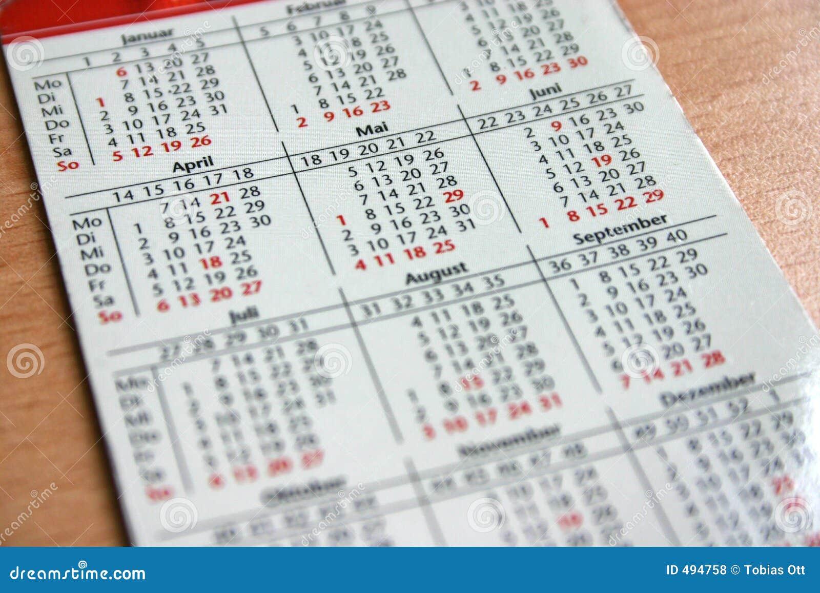 De kalender van de zak