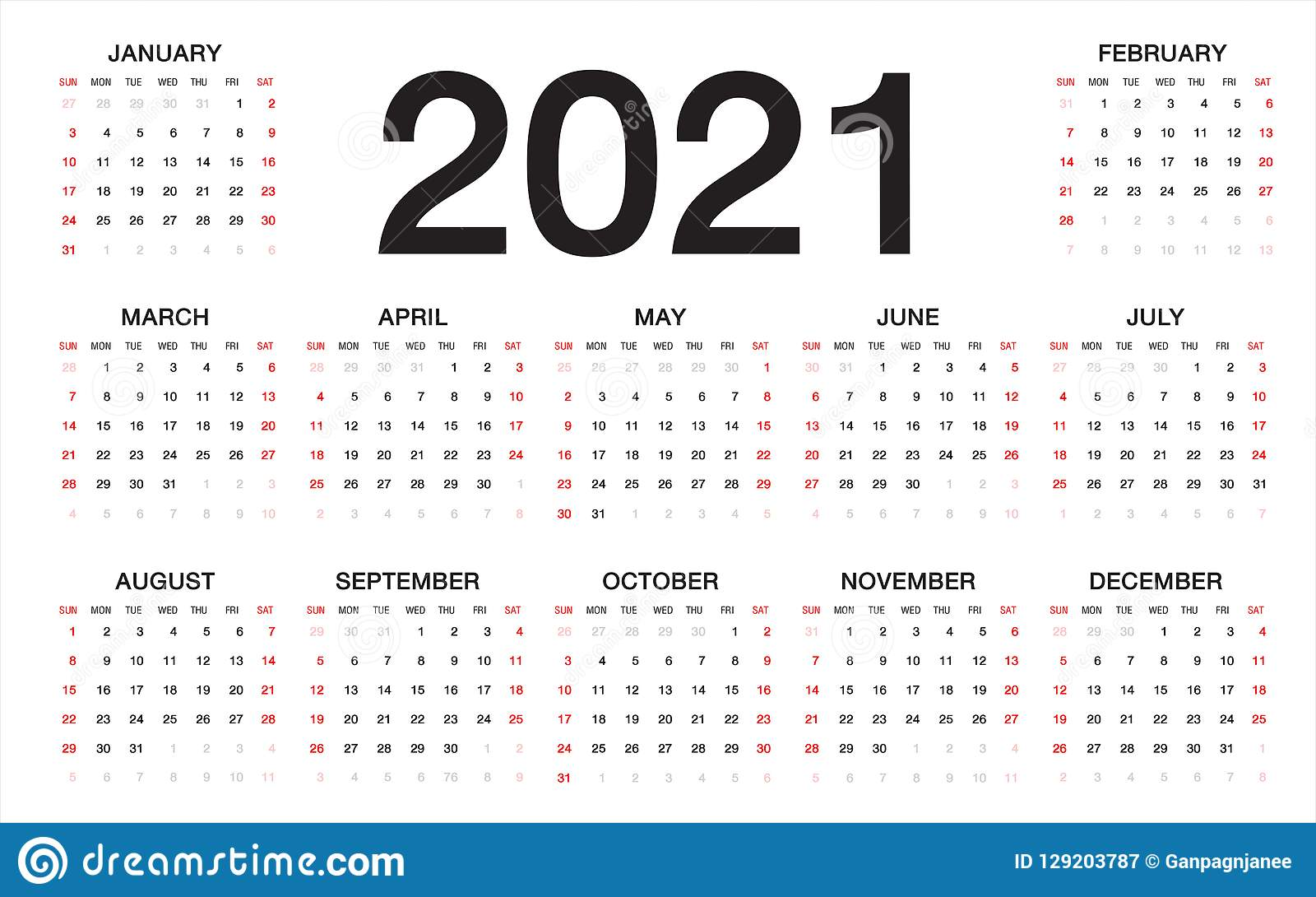 De Kalender 2021, Week Begint Van Zondag ...