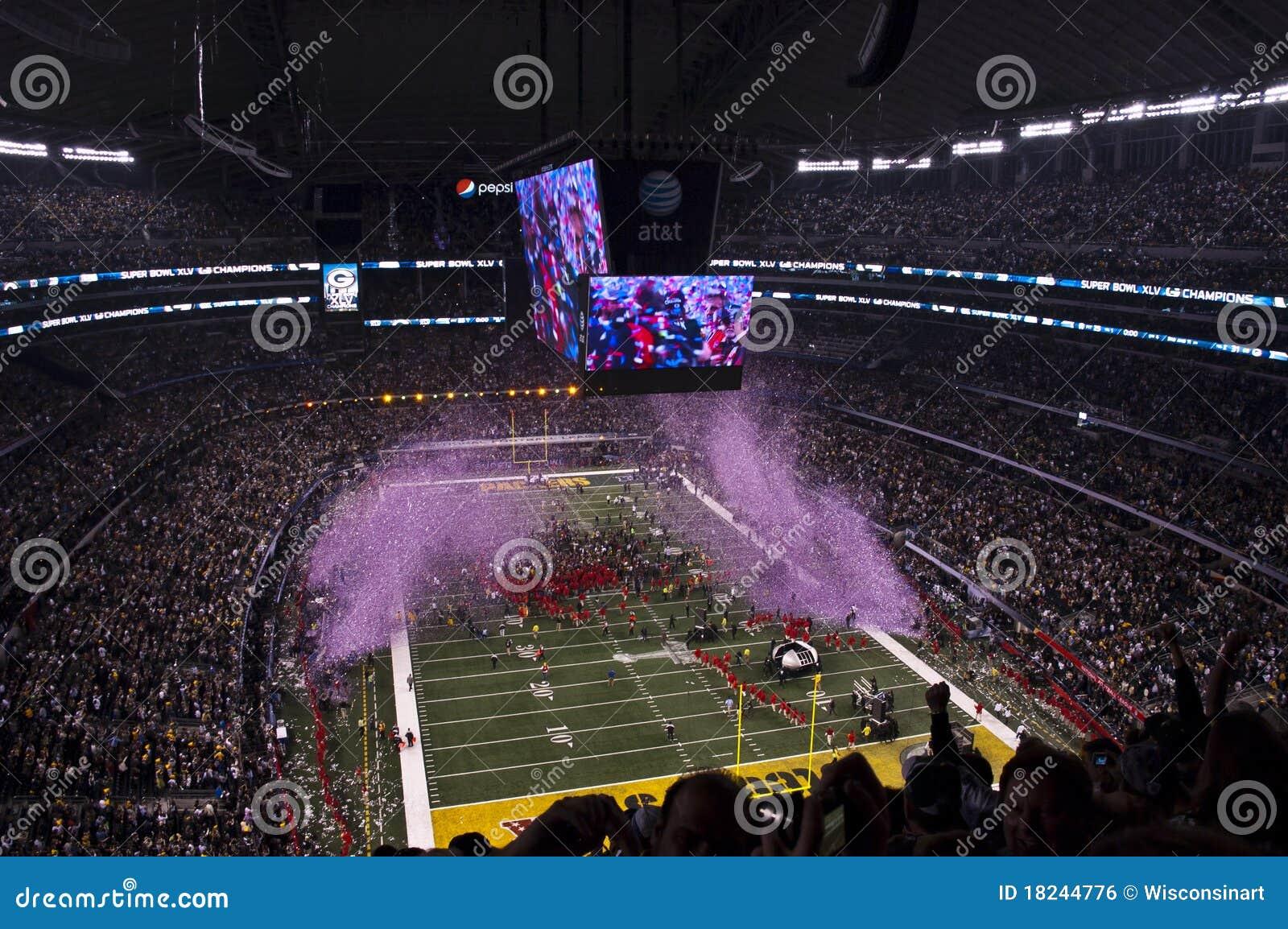 De Kampioenen van de Voetbal NFL Superbowl, de Ontploffing van Confettien