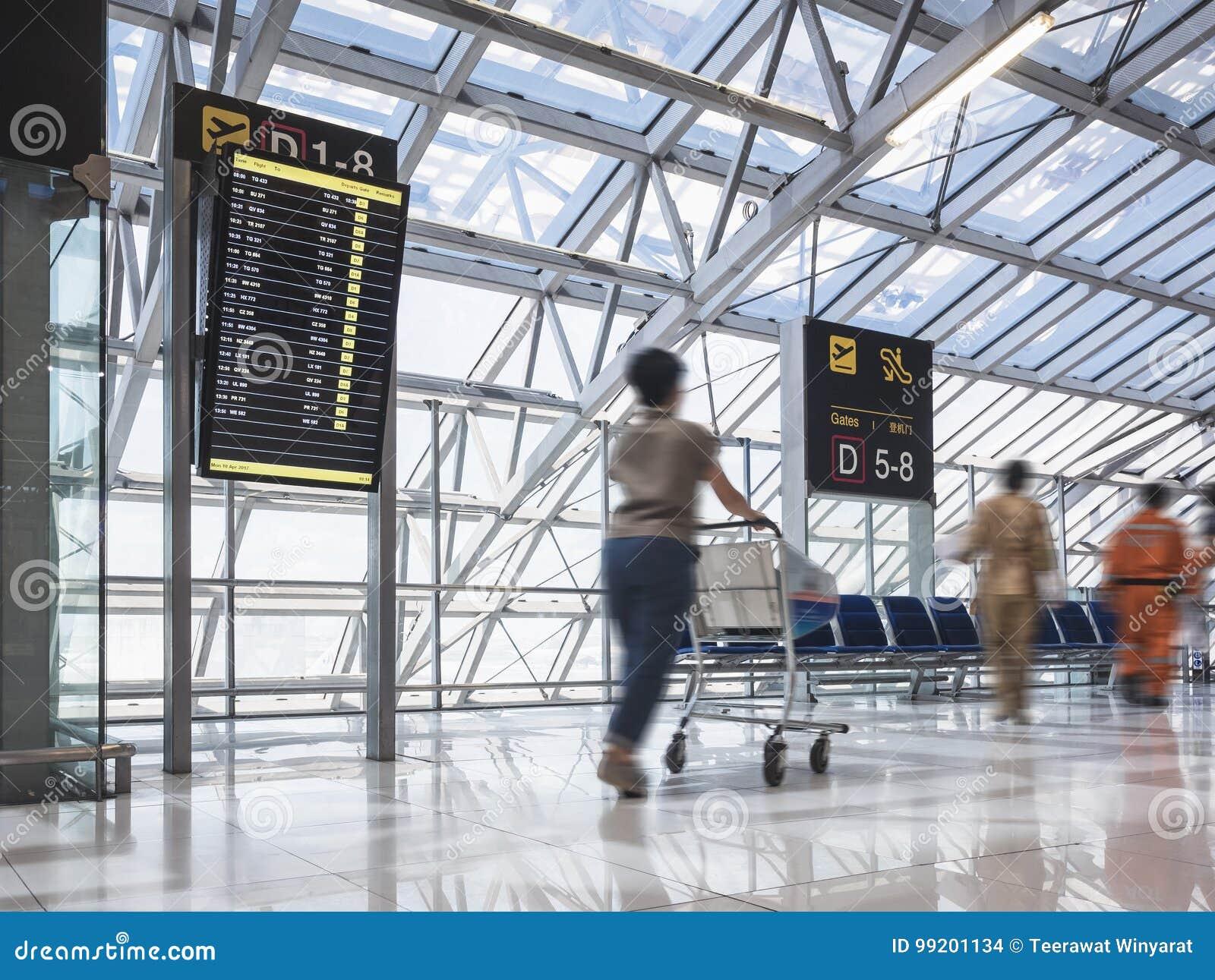 De Kar van de vrouwenholding bij inschepende de vluchtpassagier van de Luchthavenpoort