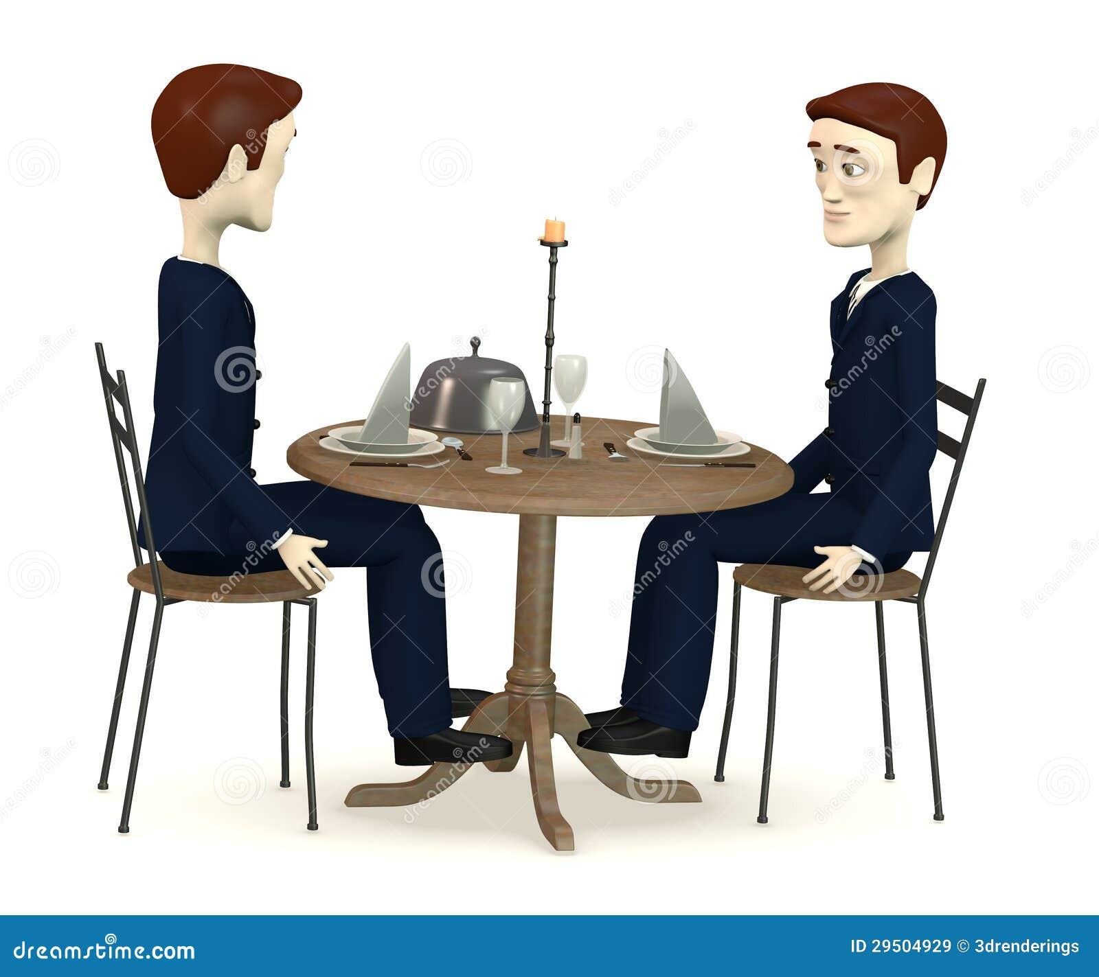De karakters in kostuums zit op restaurant