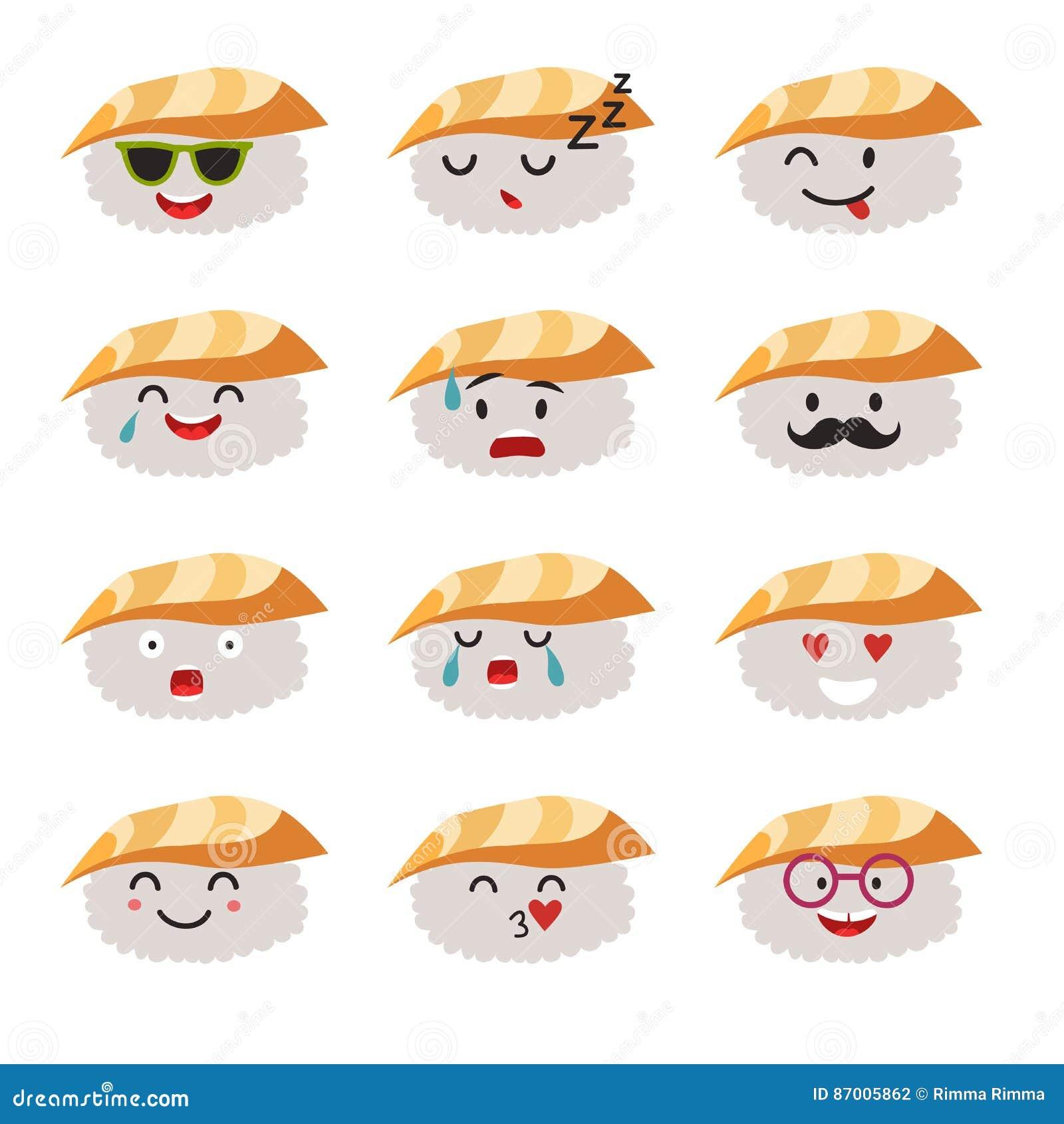 De karakters vectorreeks van Emoticonssushi