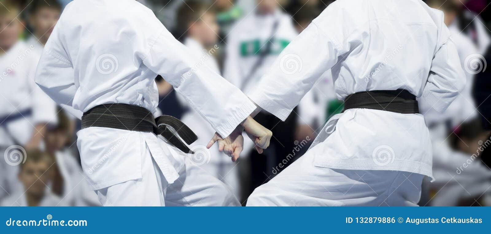 De karate doet jonge geitjesstrijd op onduidelijk beeldachtergrond Wereld Champ: Evheniy Yarimbacsh