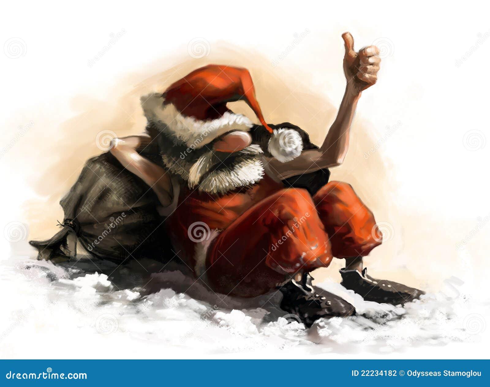 De karikatuur van de Kerstman