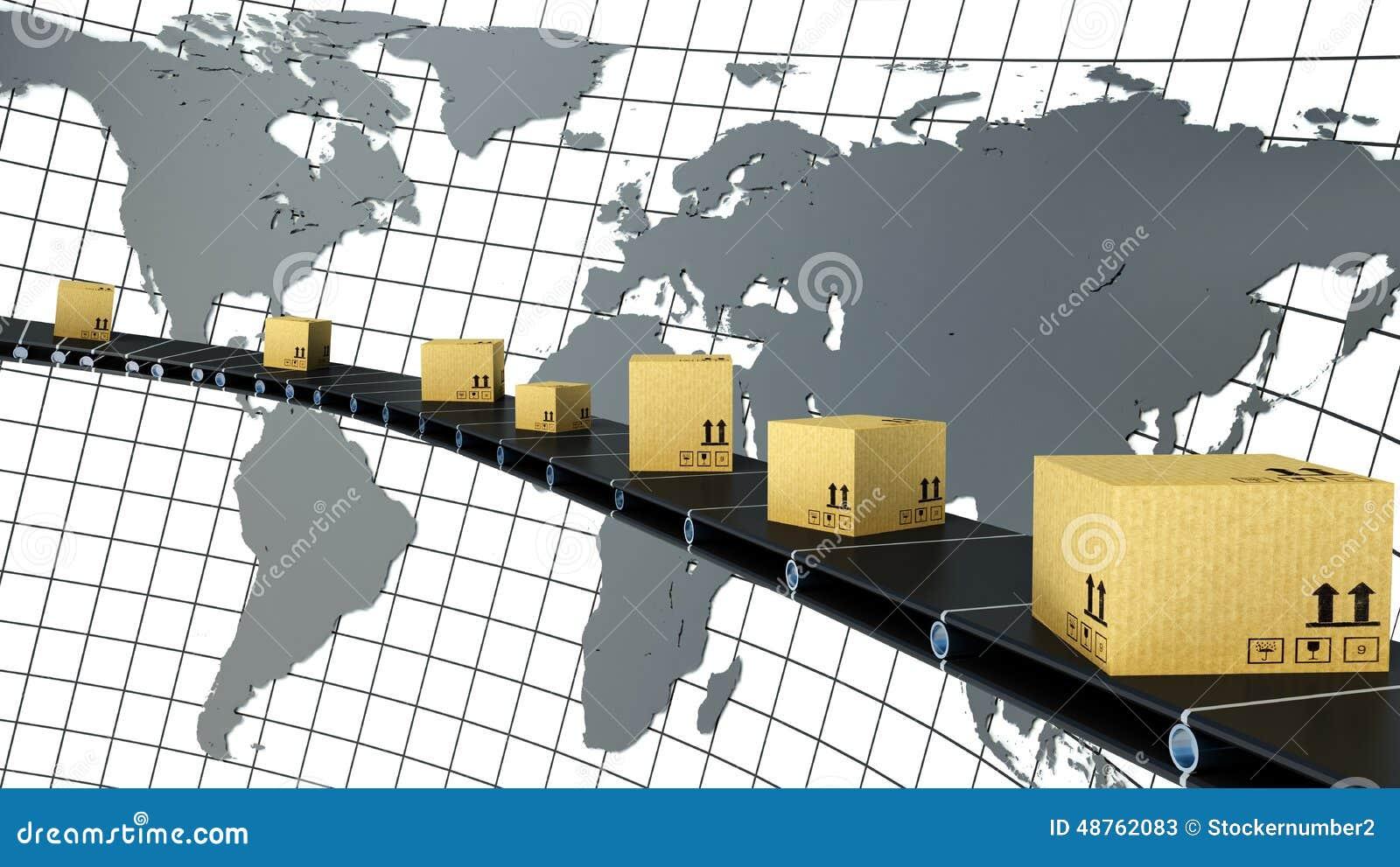 De kartondozen worden geleverd over de hele wereld op de transportband