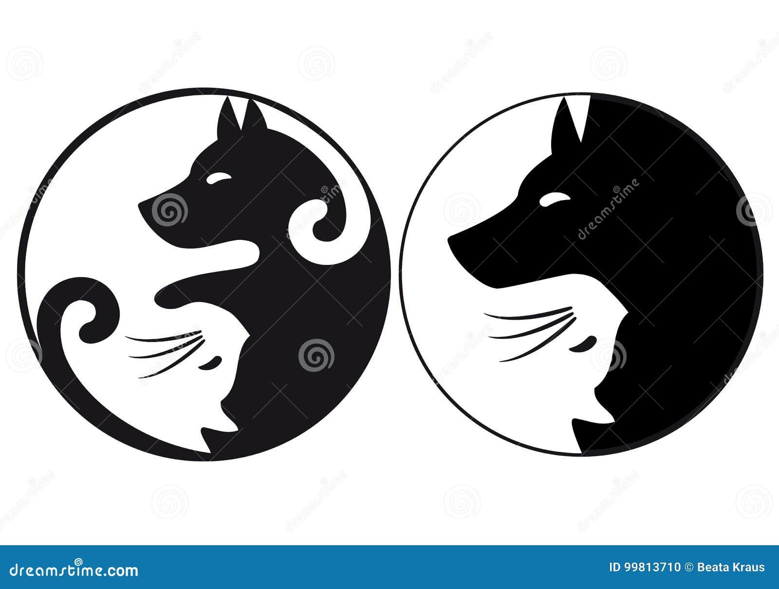 De kat van het Yin yang symbool en hond, vector