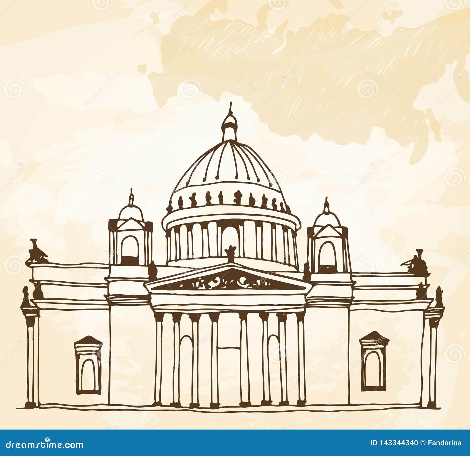 De Kathedraal Sobor van heilige Isaac in Heilige Petersburg die, Rusland op een beige achtergrond trekken