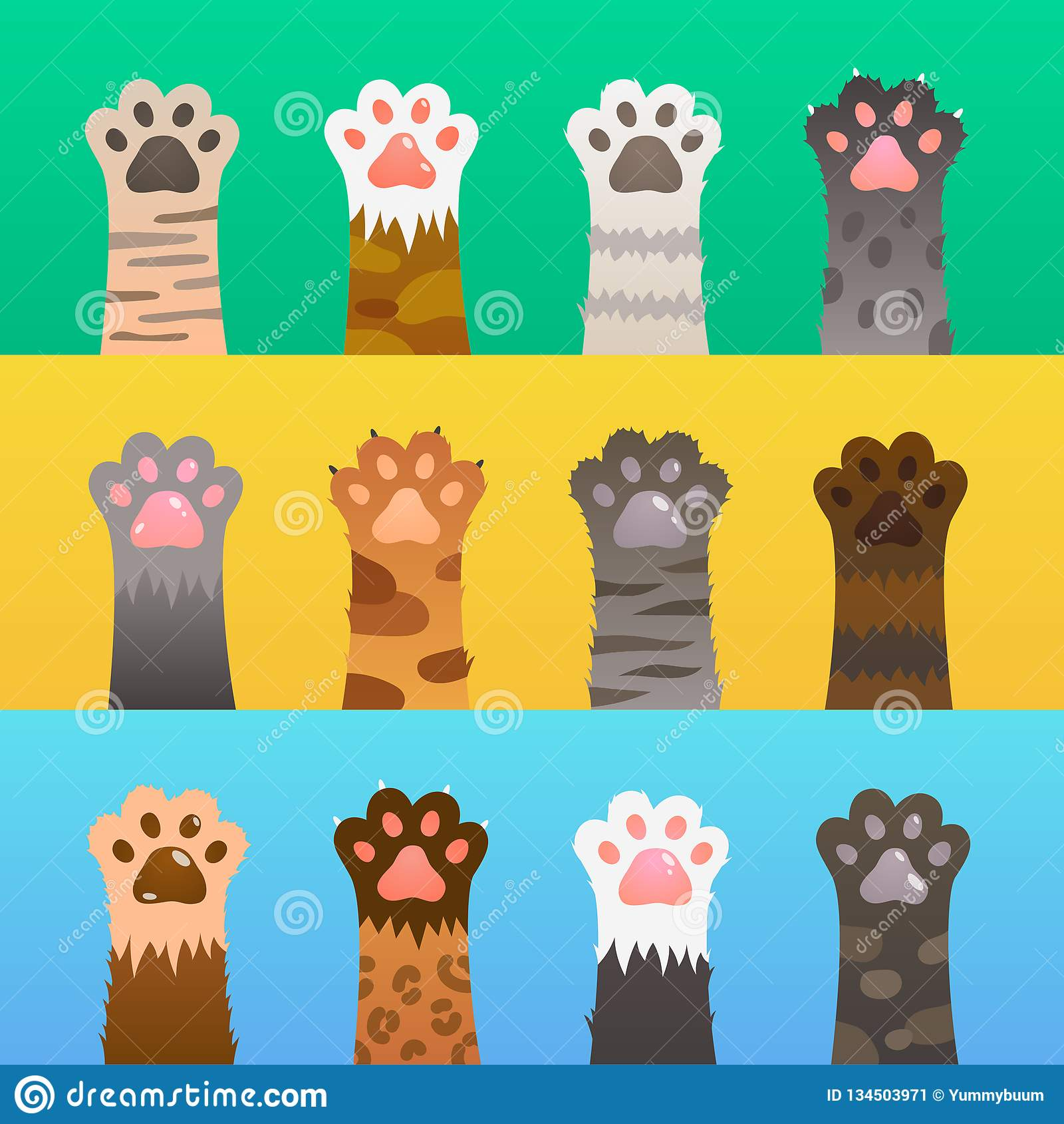 De katten handtastelijk worden vlak De kat handtastelijk wordt klauwhand, beeldverhaal leuk dier, bont grappige wilde jager Het v