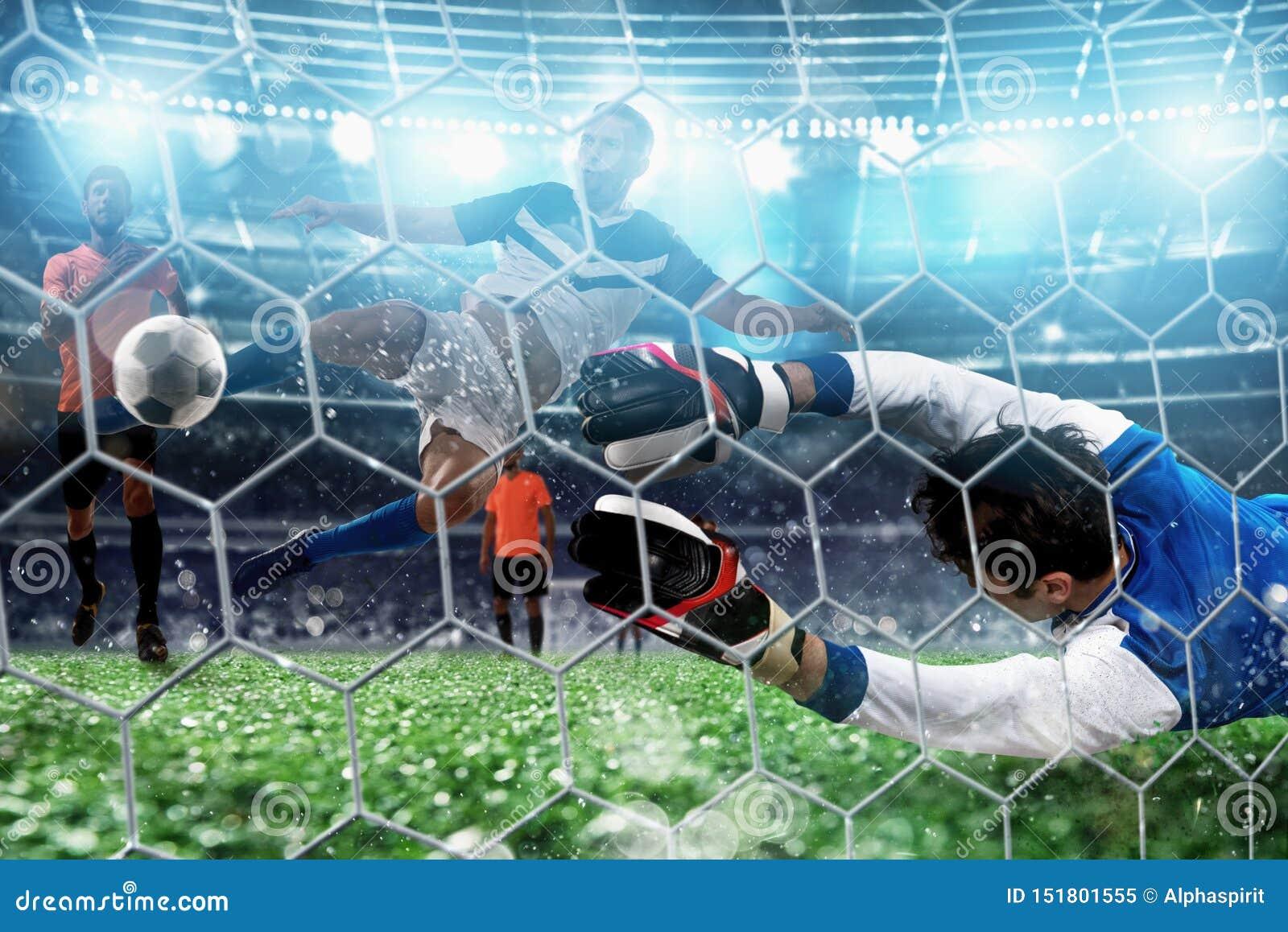 De keeper vangt de bal in het stadion tijdens een voetbalspel