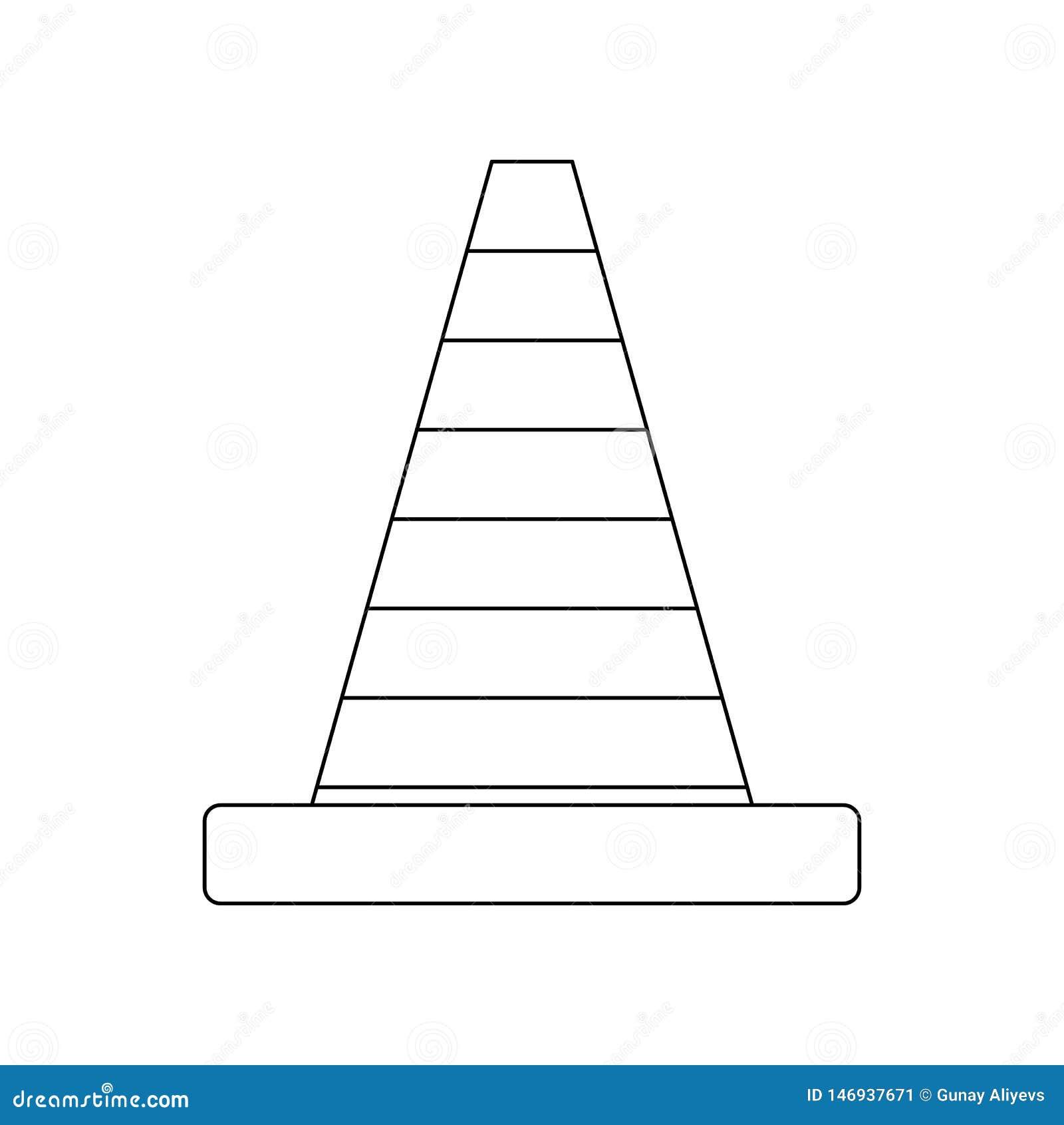 De kegelpictogram van de kleurenweg Element van bouwhulpmiddelen voor mobiel concept en webtoepassingenpictogram Overzicht, dun l