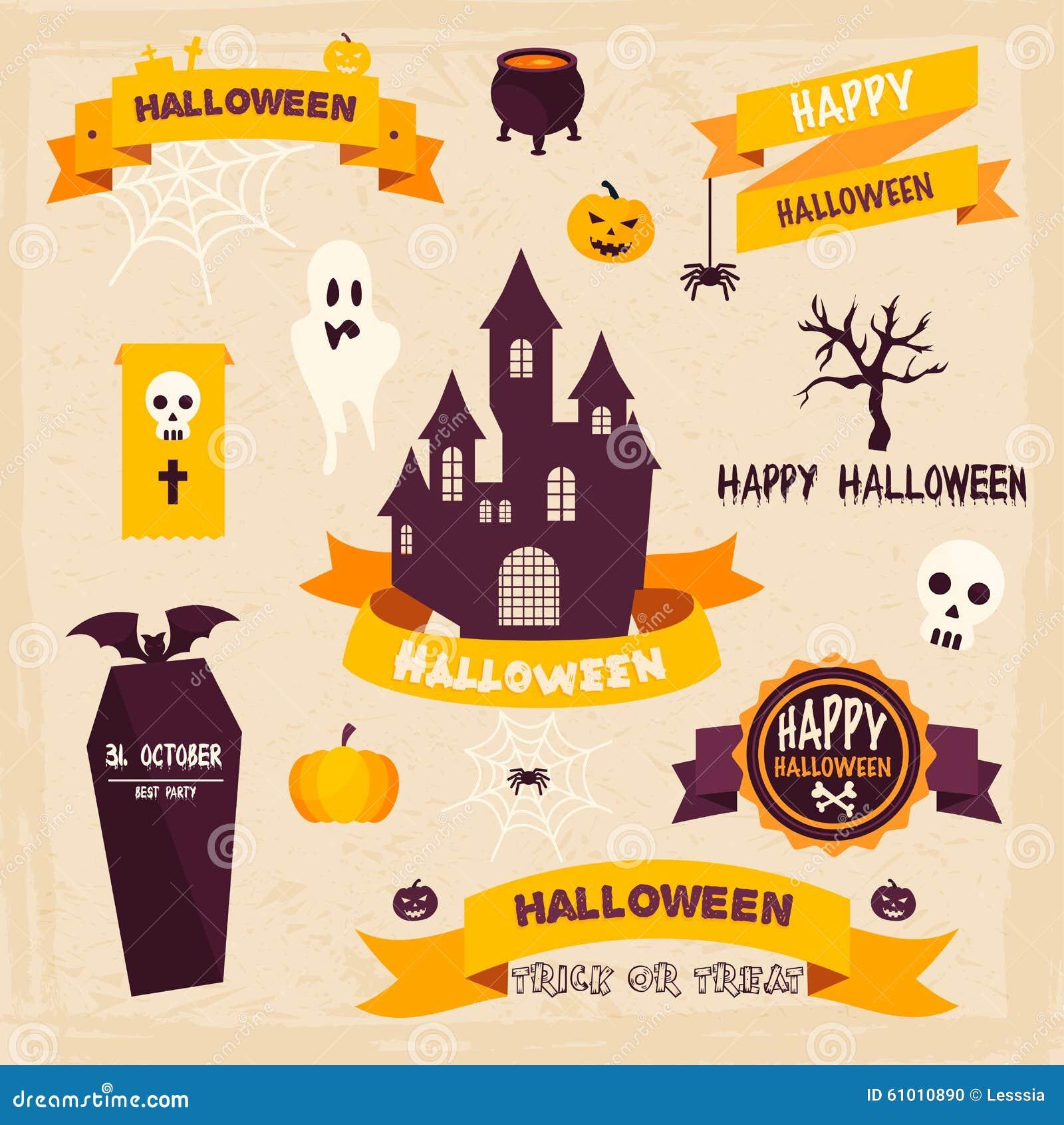 De Kentekens en de Etiketten van Halloween in Uitstekende stijl