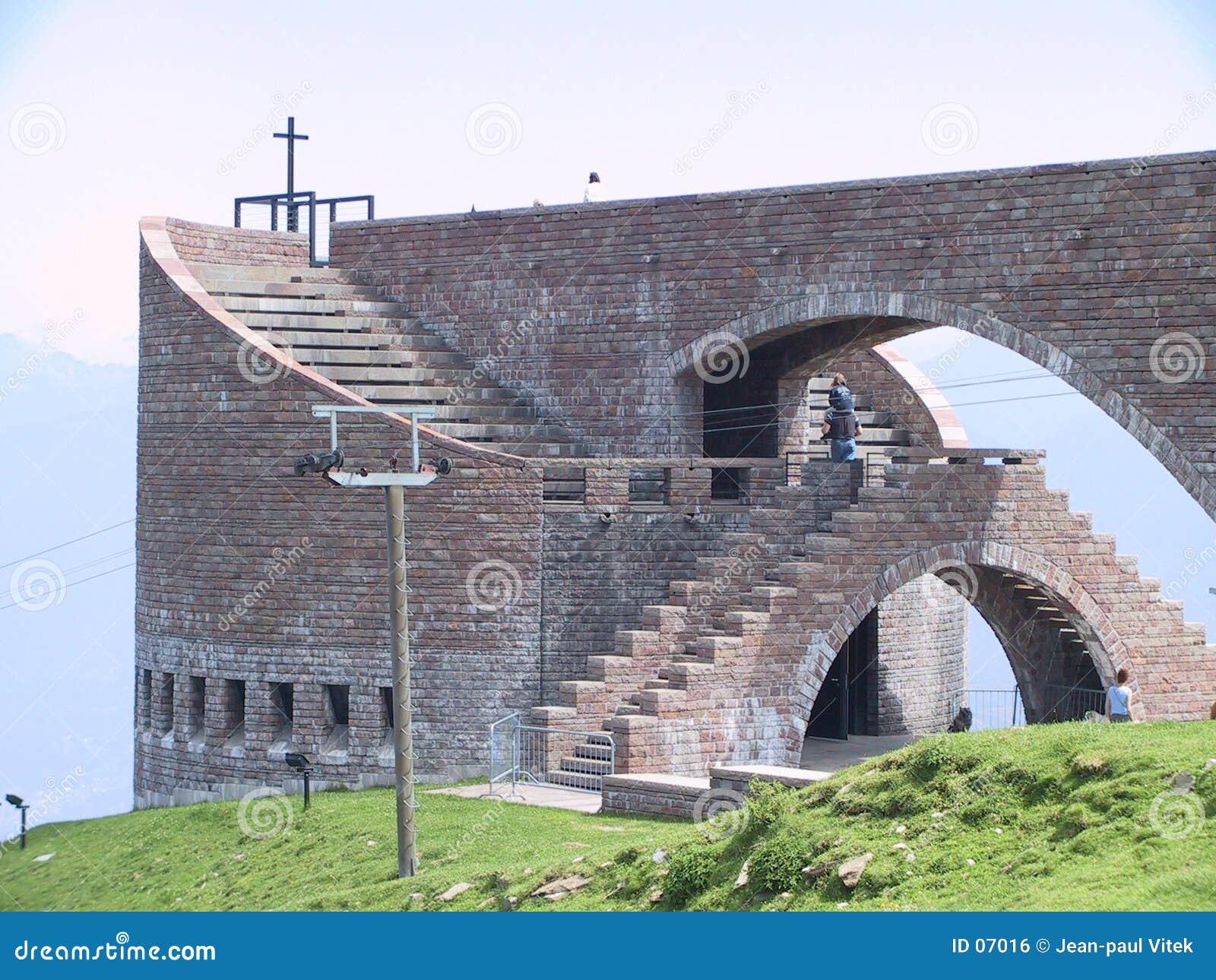 De Kerk van Botta op Ti Zwitserland van Monte Tamaro