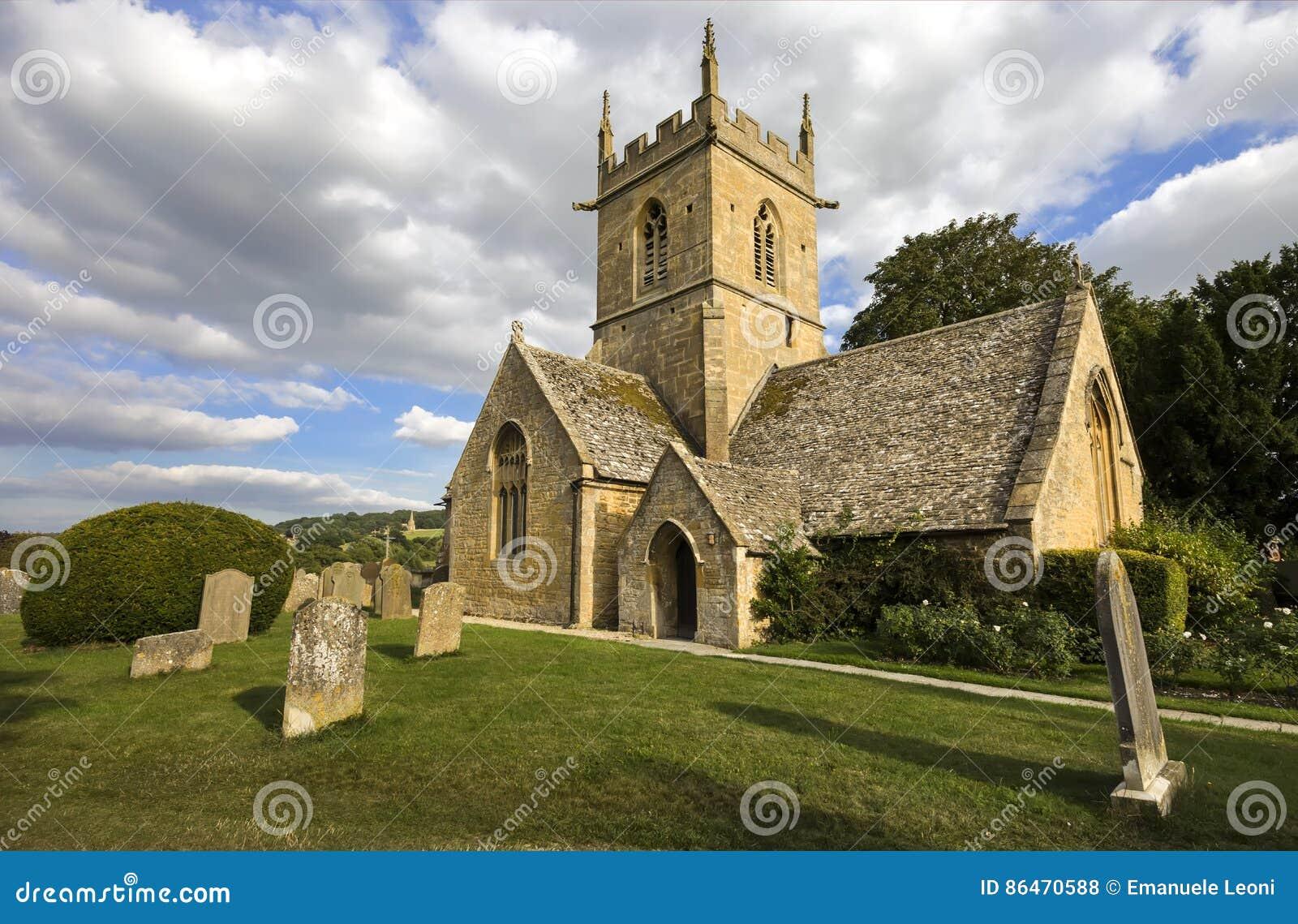 De kerk van de Broadwayparochie in coyswolds, Worcestershire, Binnenlanden, Engeland, het UK