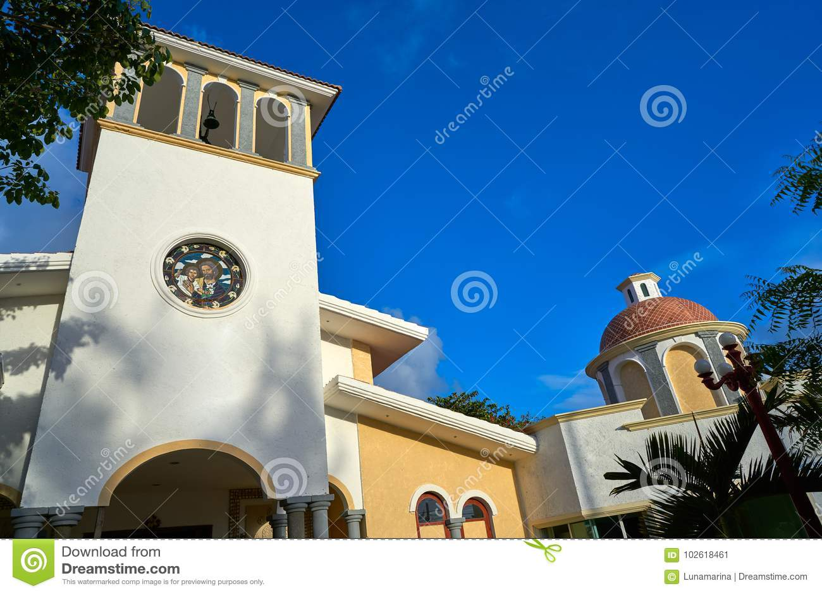 De kerk van Puertomorelos in Riviera Maya
