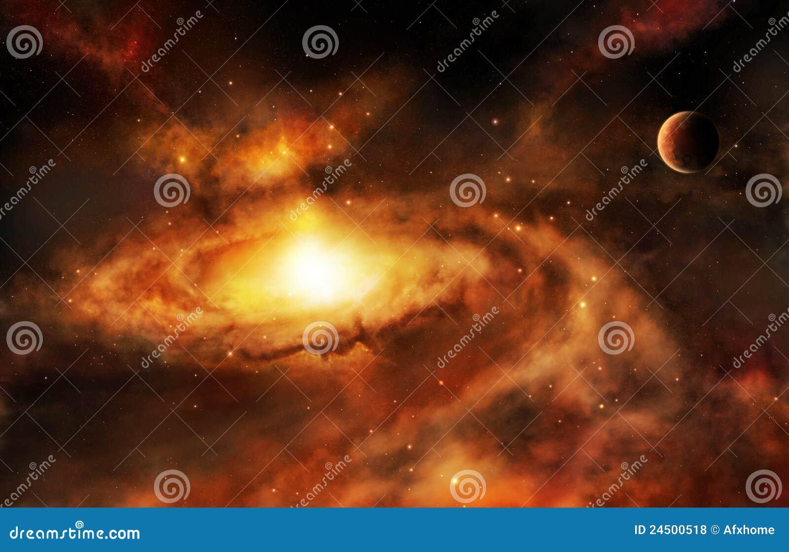 De kernnevel van de melkweg in diepe ruimte