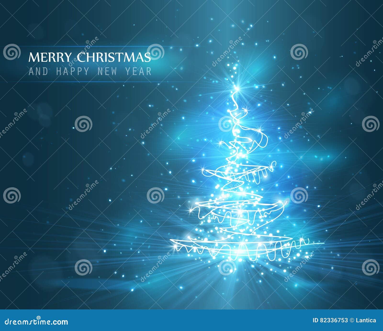 De kerstboom met defocused lichten Achtergrond voor een uitnodigingskaart of een gelukwens