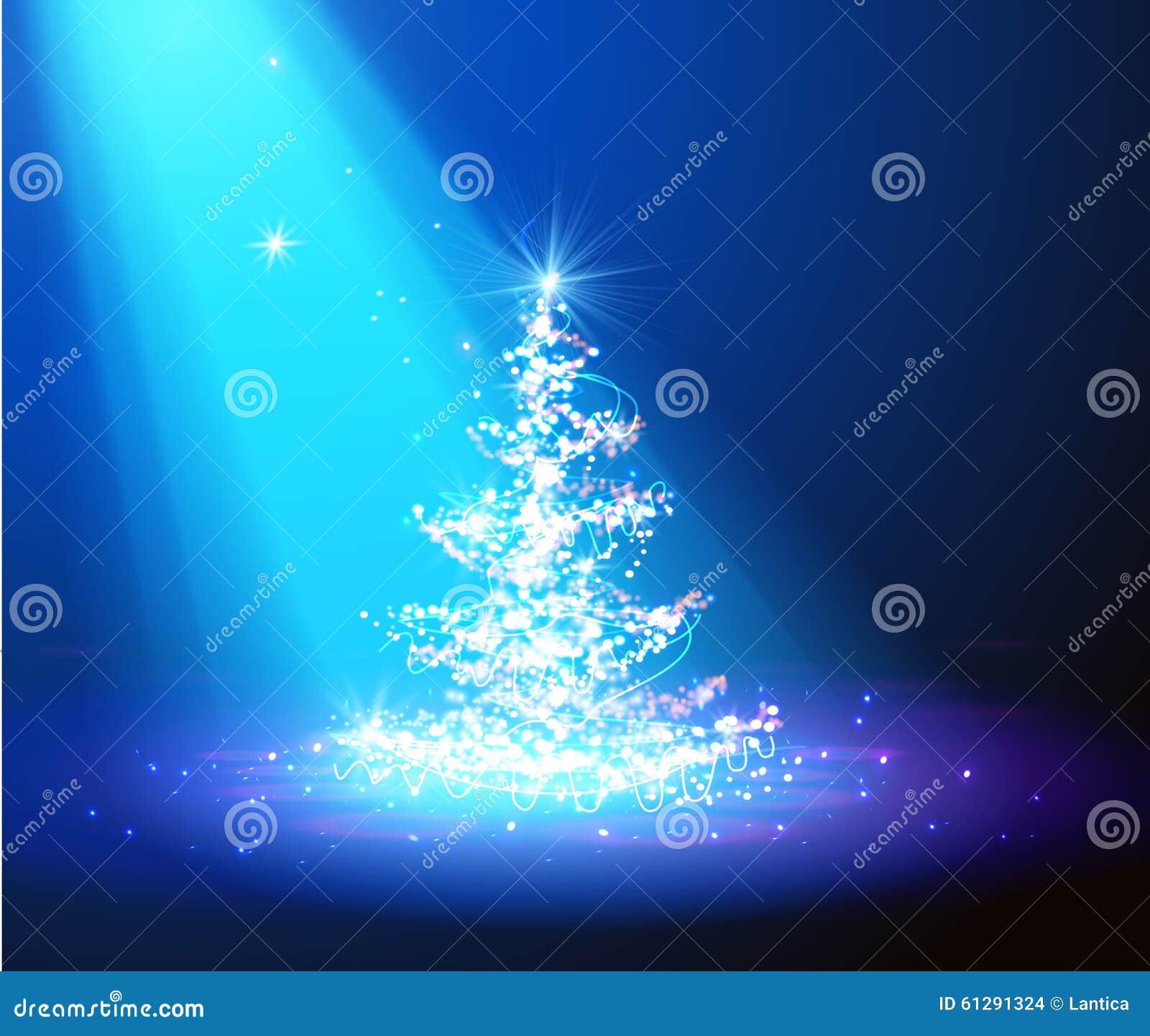 De kerstboom met defocused lichten Blauw