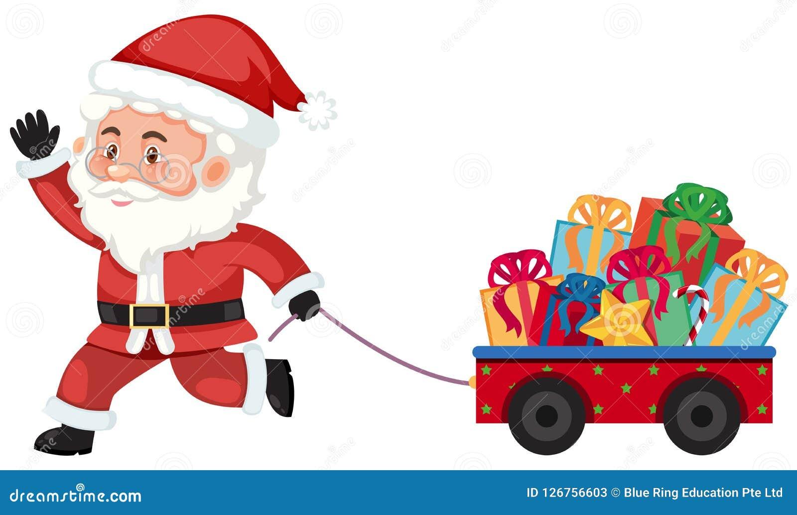 De kerstman die een vervoer trekken met stelt voor