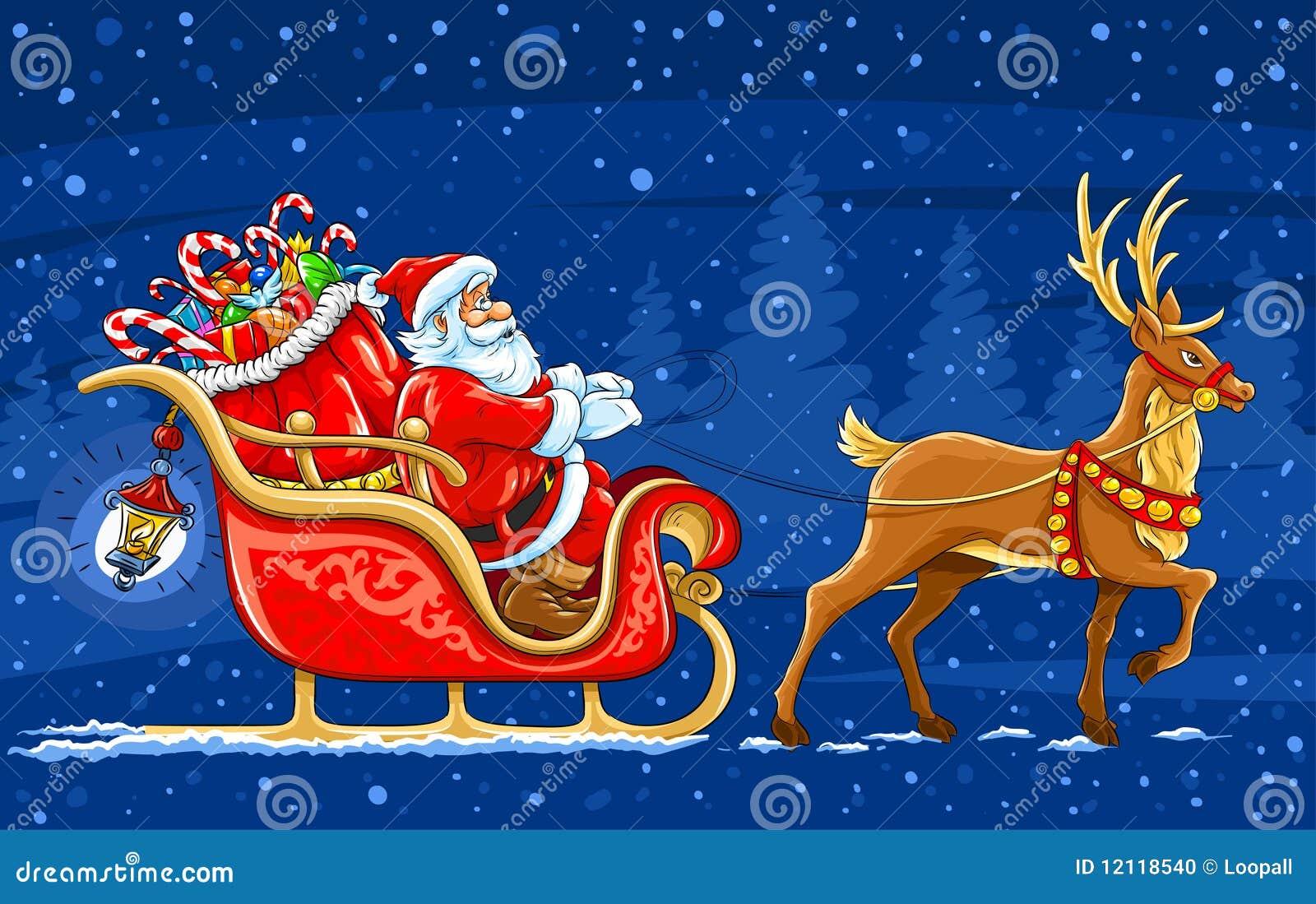 Wonderbaar De Kerstman Die Zich Op De Slee Met Rendier Beweegt Stock RI-71
