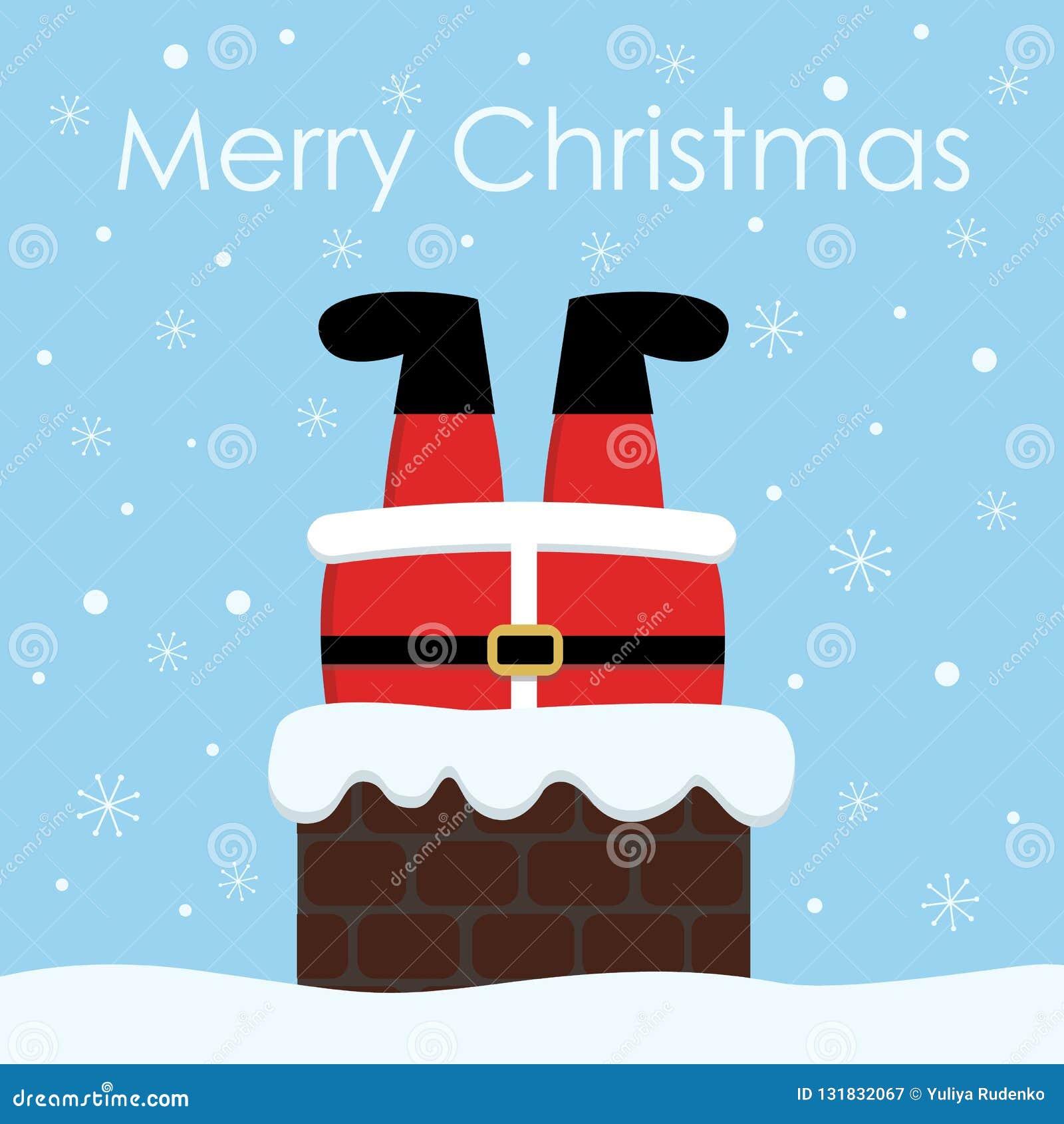 De Kerstman plakte in de schoorsteen De achtergrond van Kerstmis